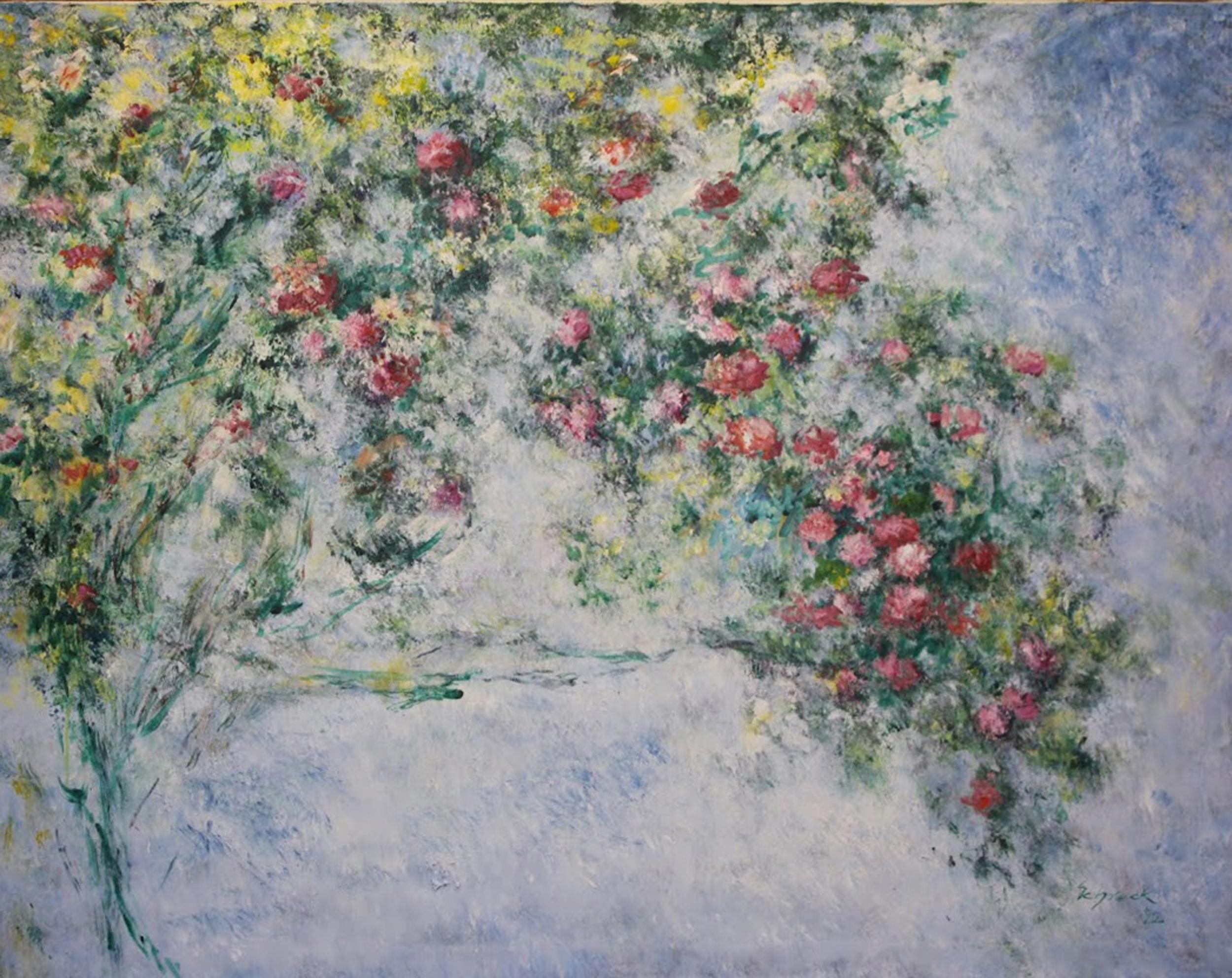 Michael Schreck, Homage to Monet's Roses, Acrylic Painting