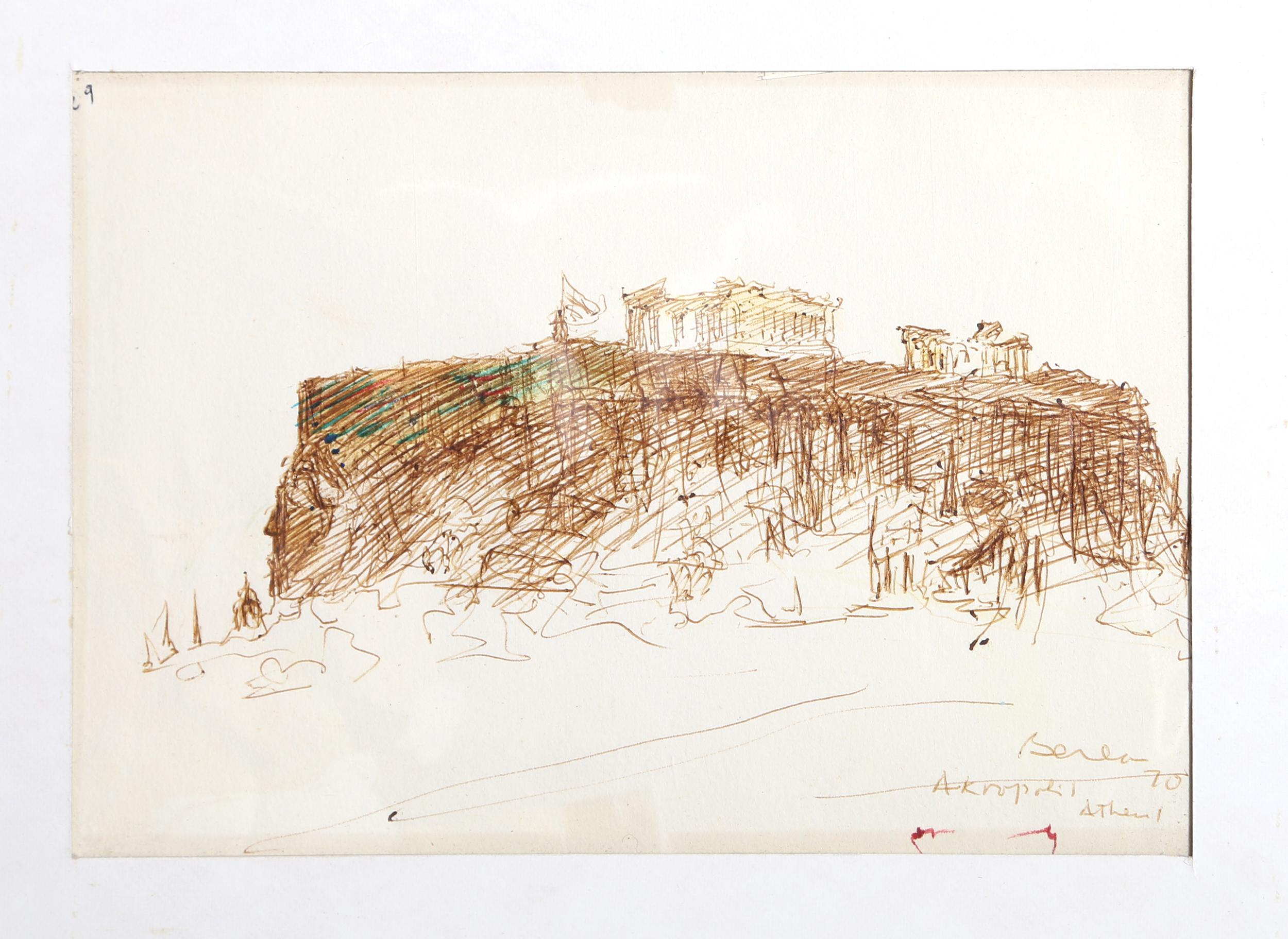 Dimitrie Berea, Acropolis, Athens (36), Ink Drawing