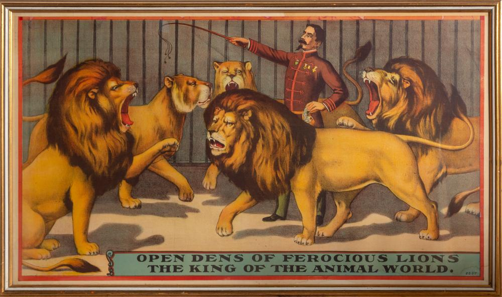 Unknown Artist: Open Dens of Ferocious Lions, the King of the Animal World, Poster