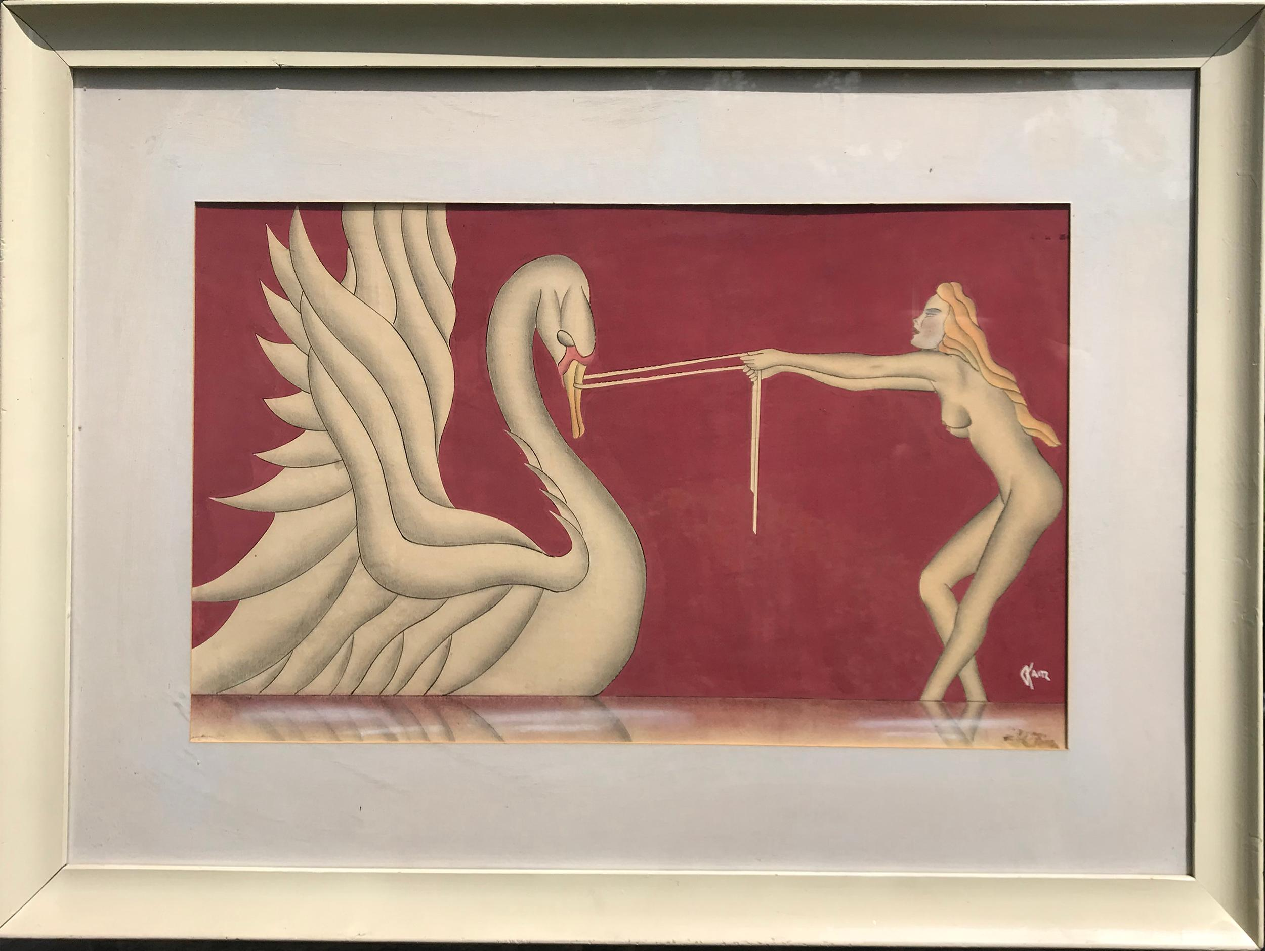 Gustav Kaitz, Leda and the Swan, Gouache, Ink and Watercolor Painting