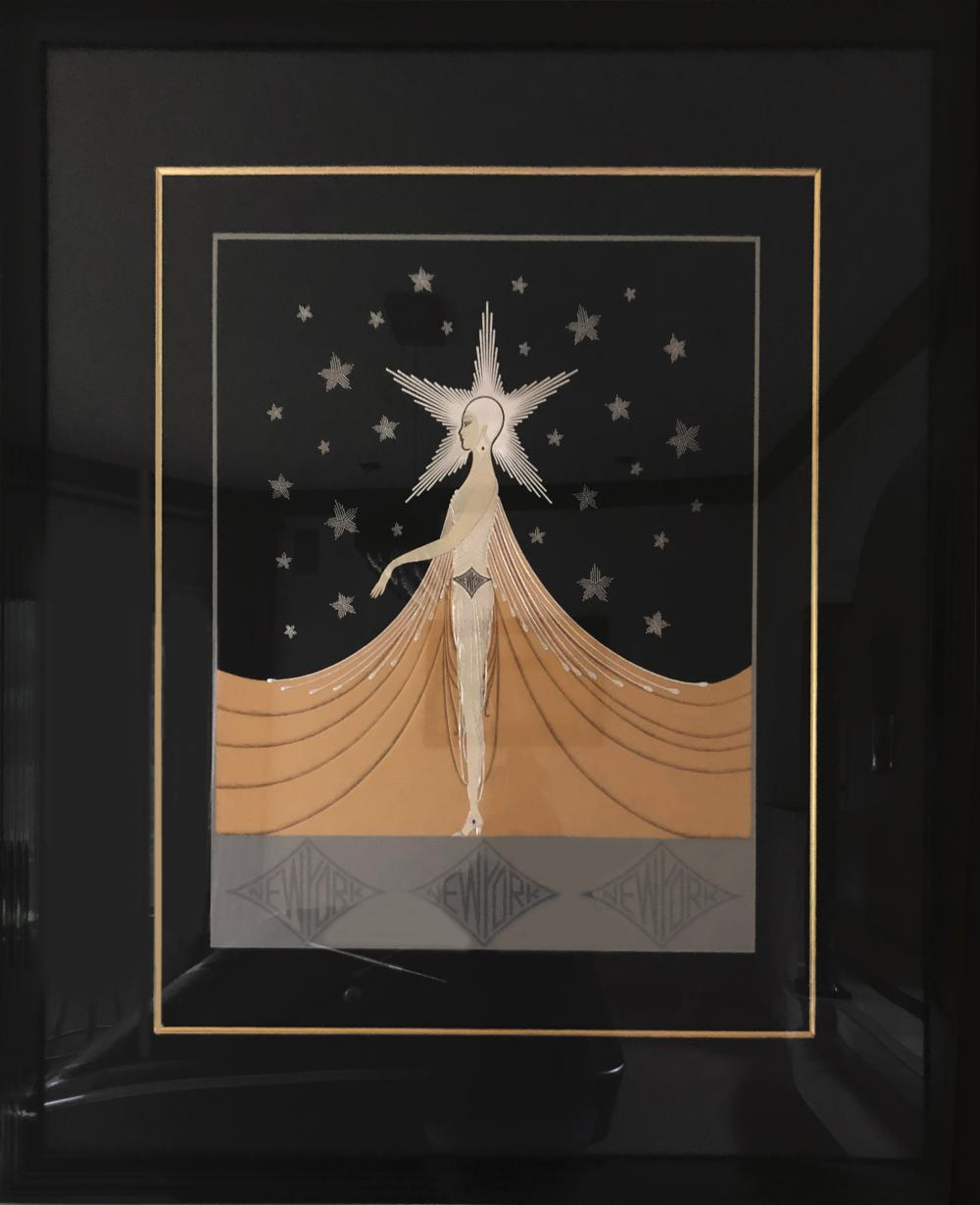 Erte, New York, New York, Embossed Serigraph with Foil Stamping