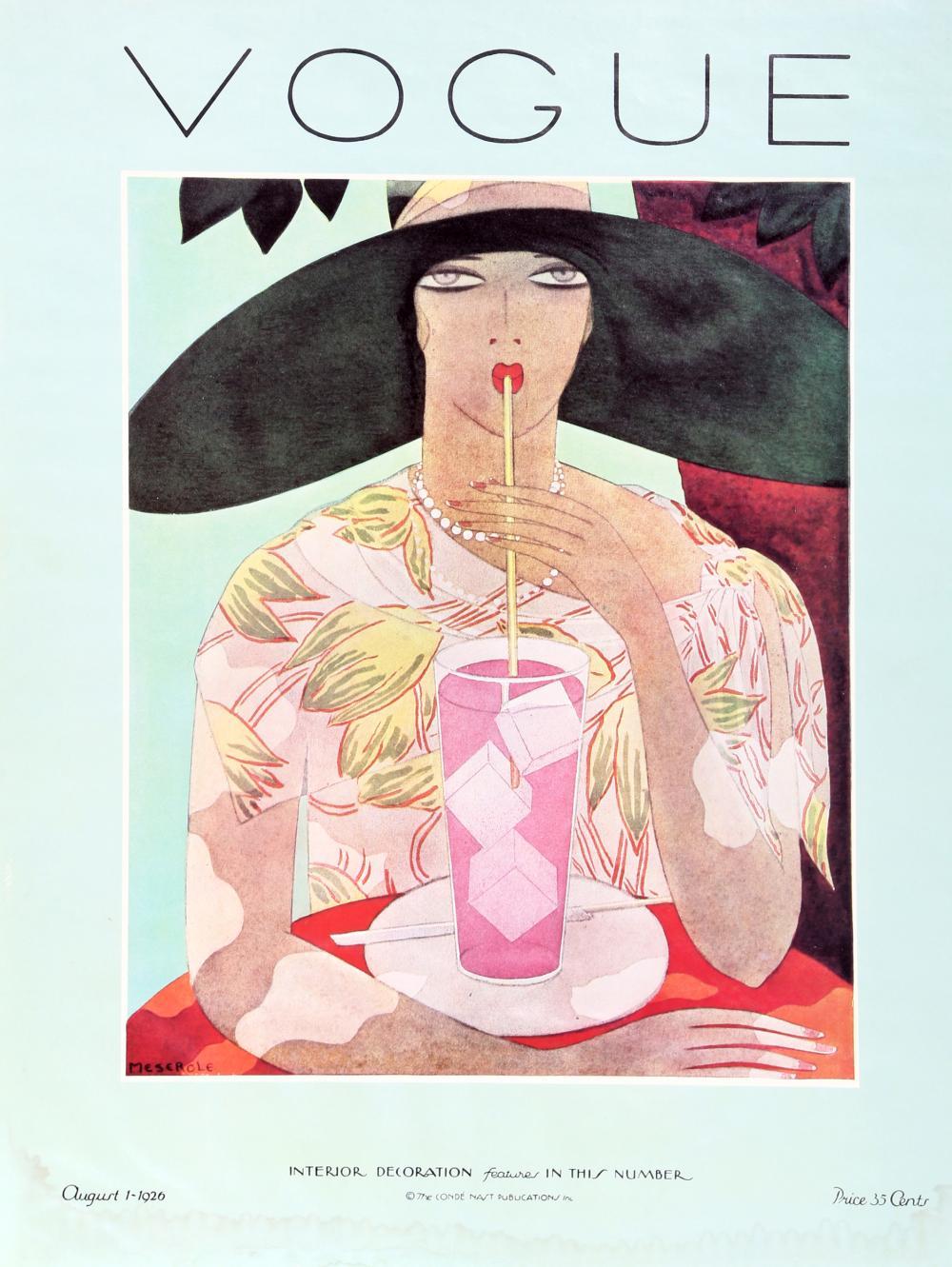 Harriet Meserole, Vogue Cover, Interior Decoration August 1926, Poster