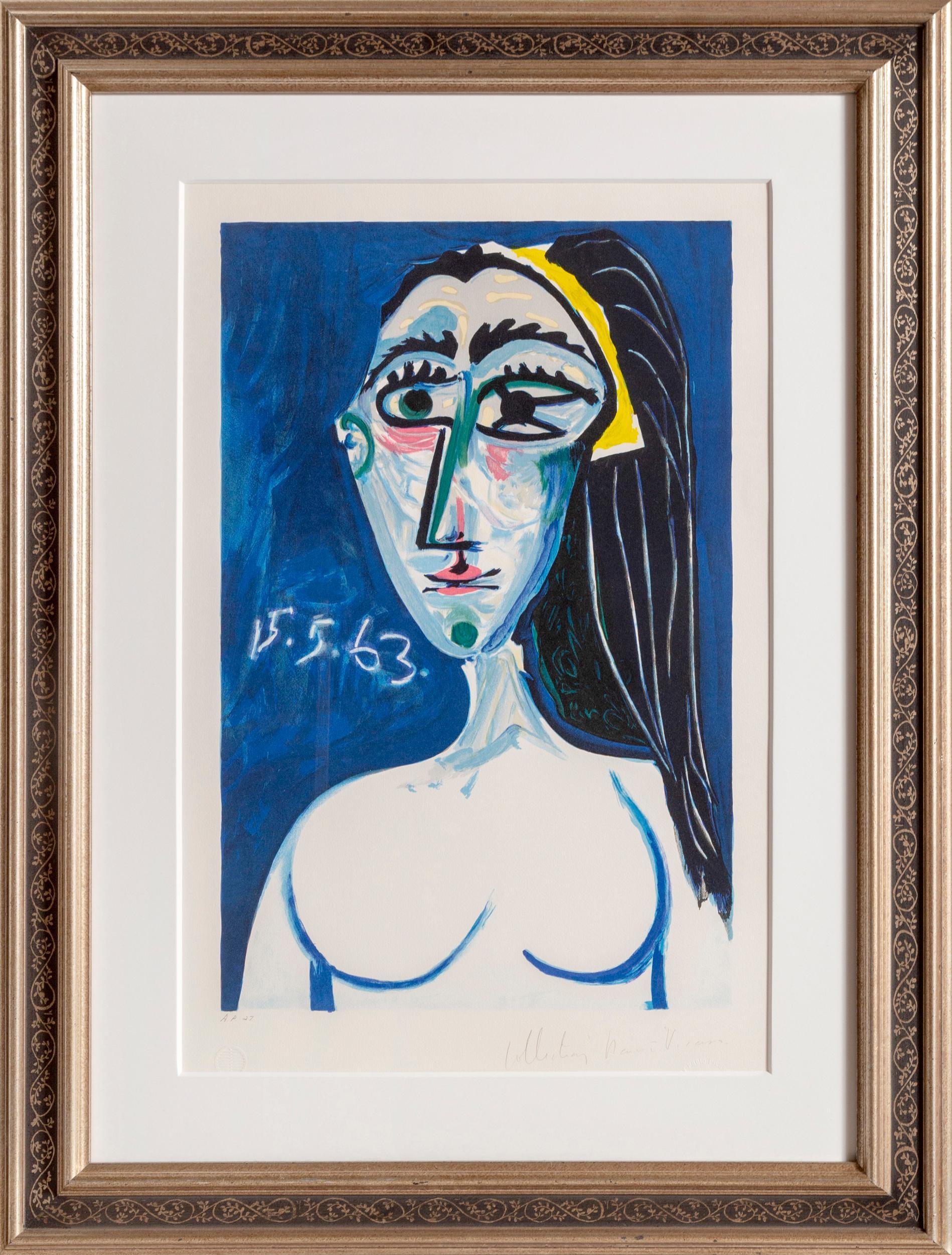 Pablo Picasso, Buste de Femme Nue Face (Jacqueline Roque), 1, Lithograph