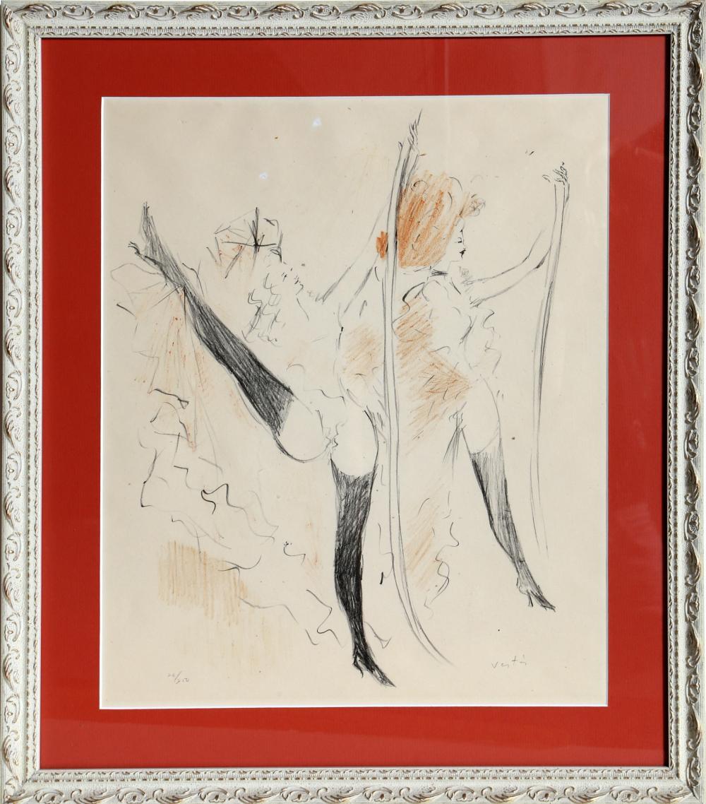 Marcel Vertes, Two Cabaret Dancers, Lithograph