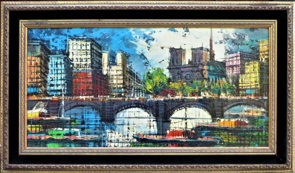 Remi Chapelle, Bridge Scene, Oil Painting