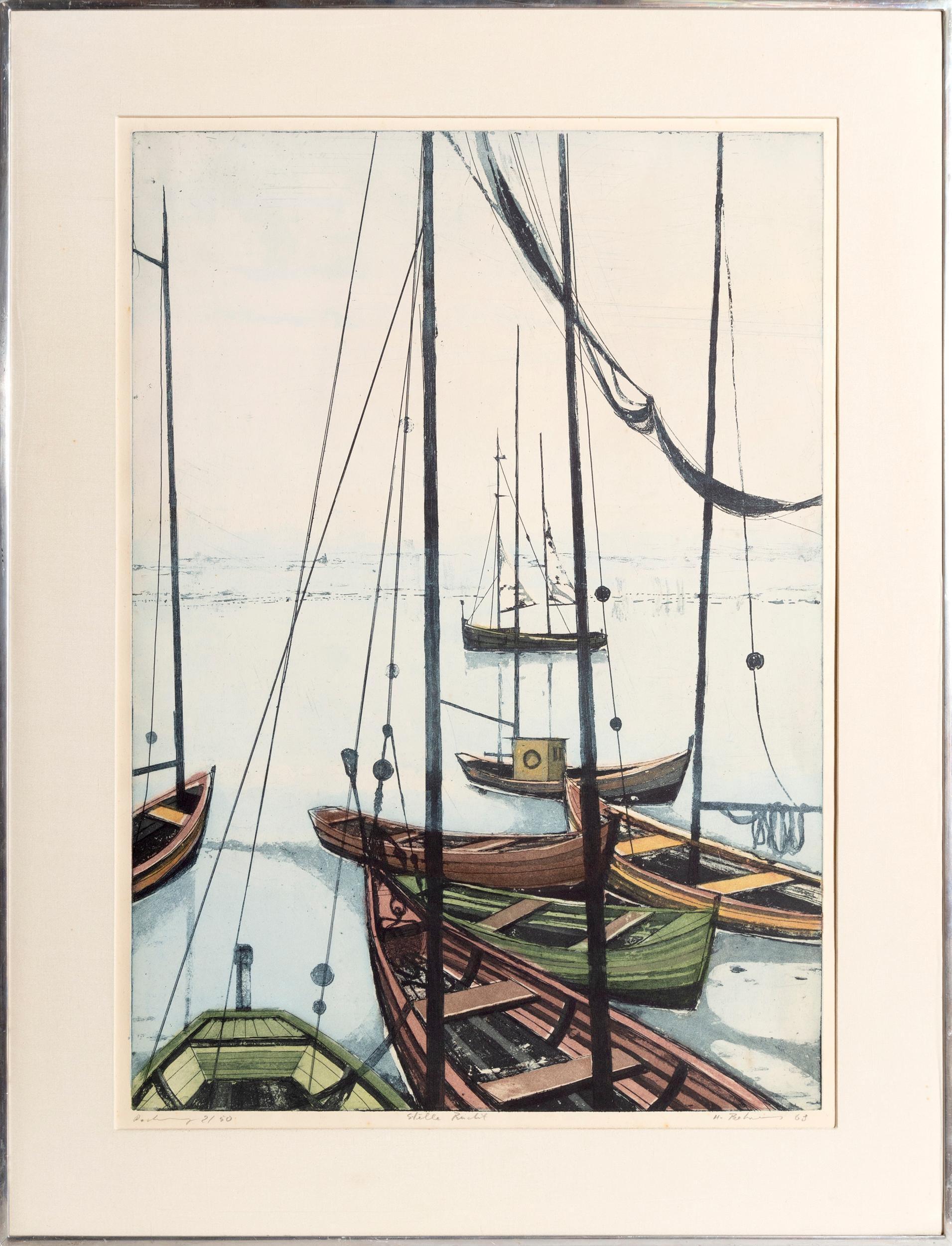 Hans Behrens, A Quiet Marina, Aquatint Etching