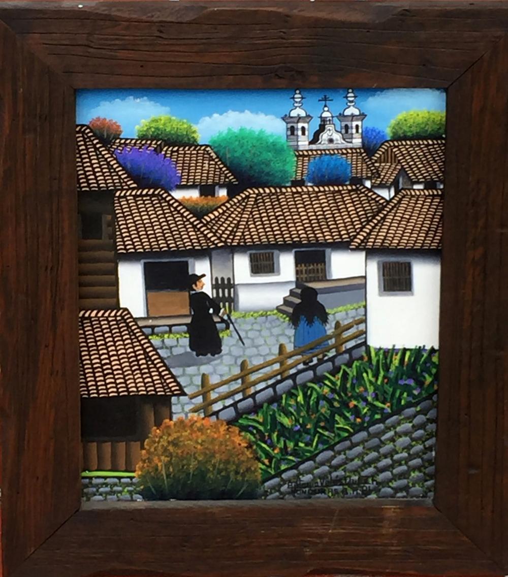 Antonio Velasquez, Street Scene with Priest in Honduras, Acrylic Painting