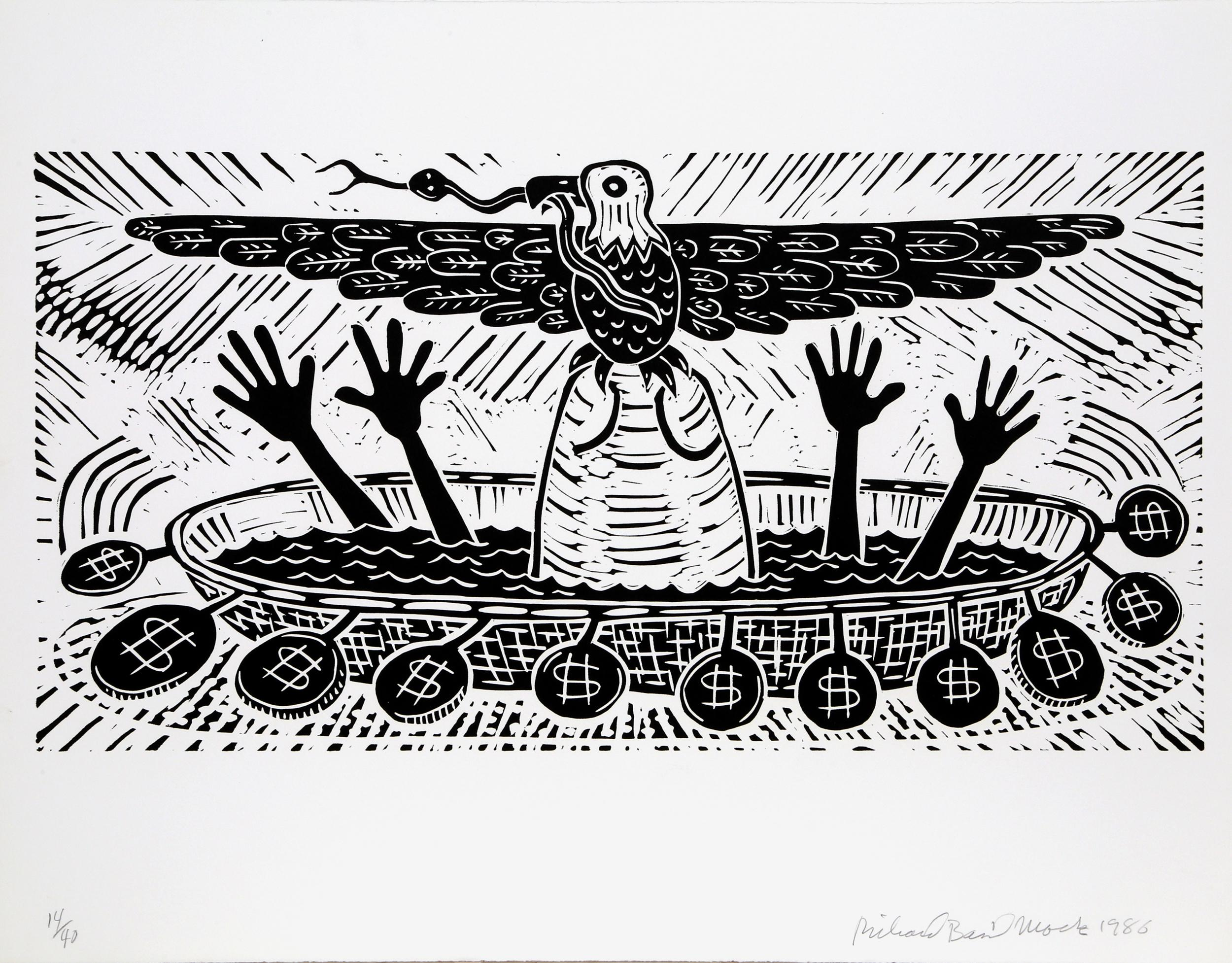 Richard Mock, Mexico Needs Special Help, Linocut