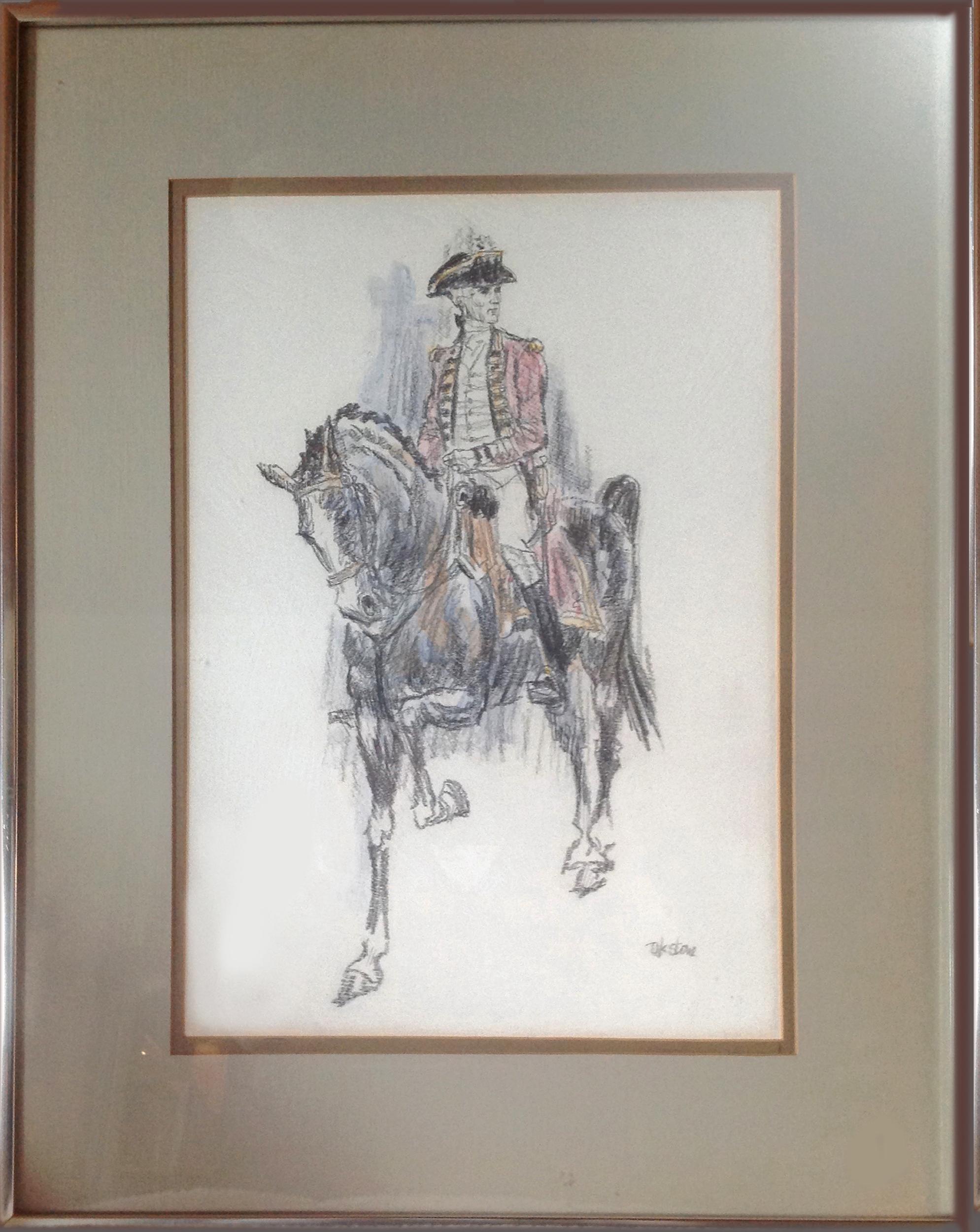 David K. Stone, George Washington on Horse, Pastel Drawing