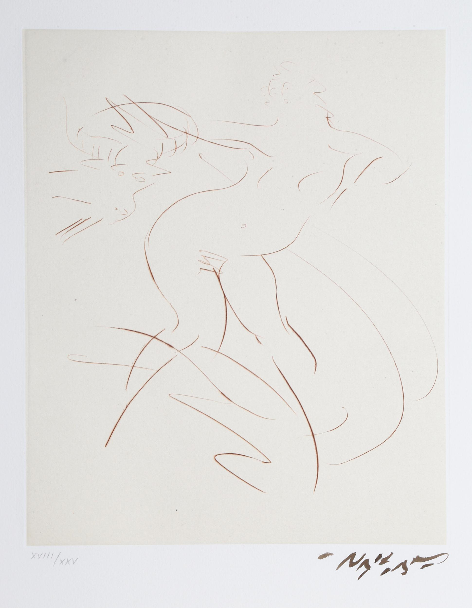 Reuben Nakian, Nymph and Goat 4 (Sepia) from Myths and Legends, Drypoint Etching with Chine Colle