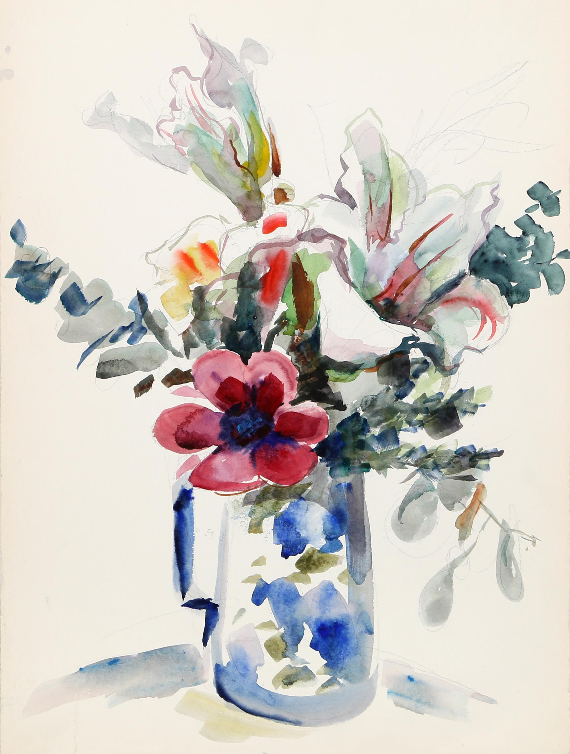 Eve Nethercott, Flowers in Blue Pitcher (P1.8), Watercolor Painting