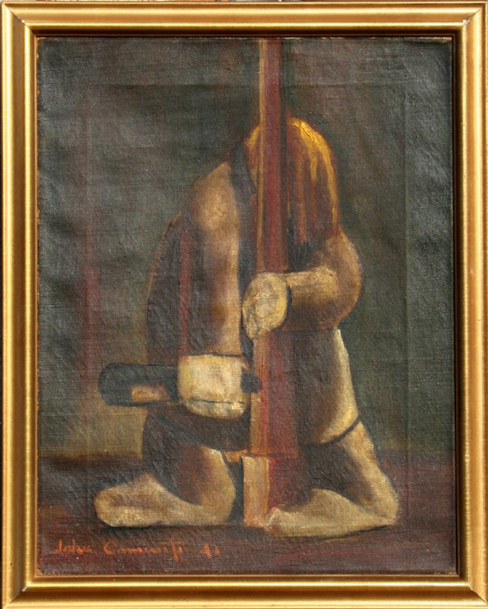John Caminiti, Man in Coat with Bottle, Oil Painting