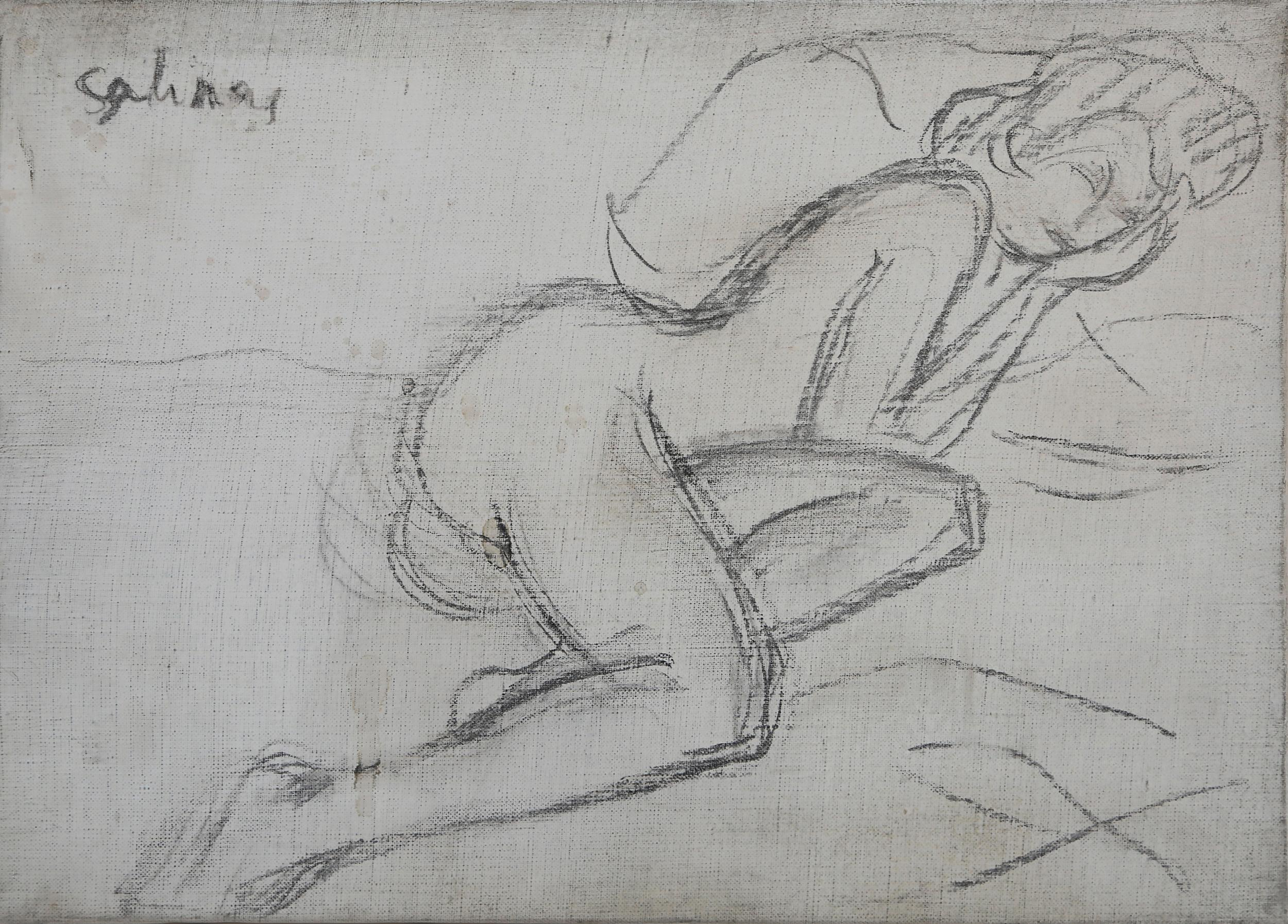 Laurent Marcel Salinas, Lounging Nude on Pillow (1001), Graphite on Canvas