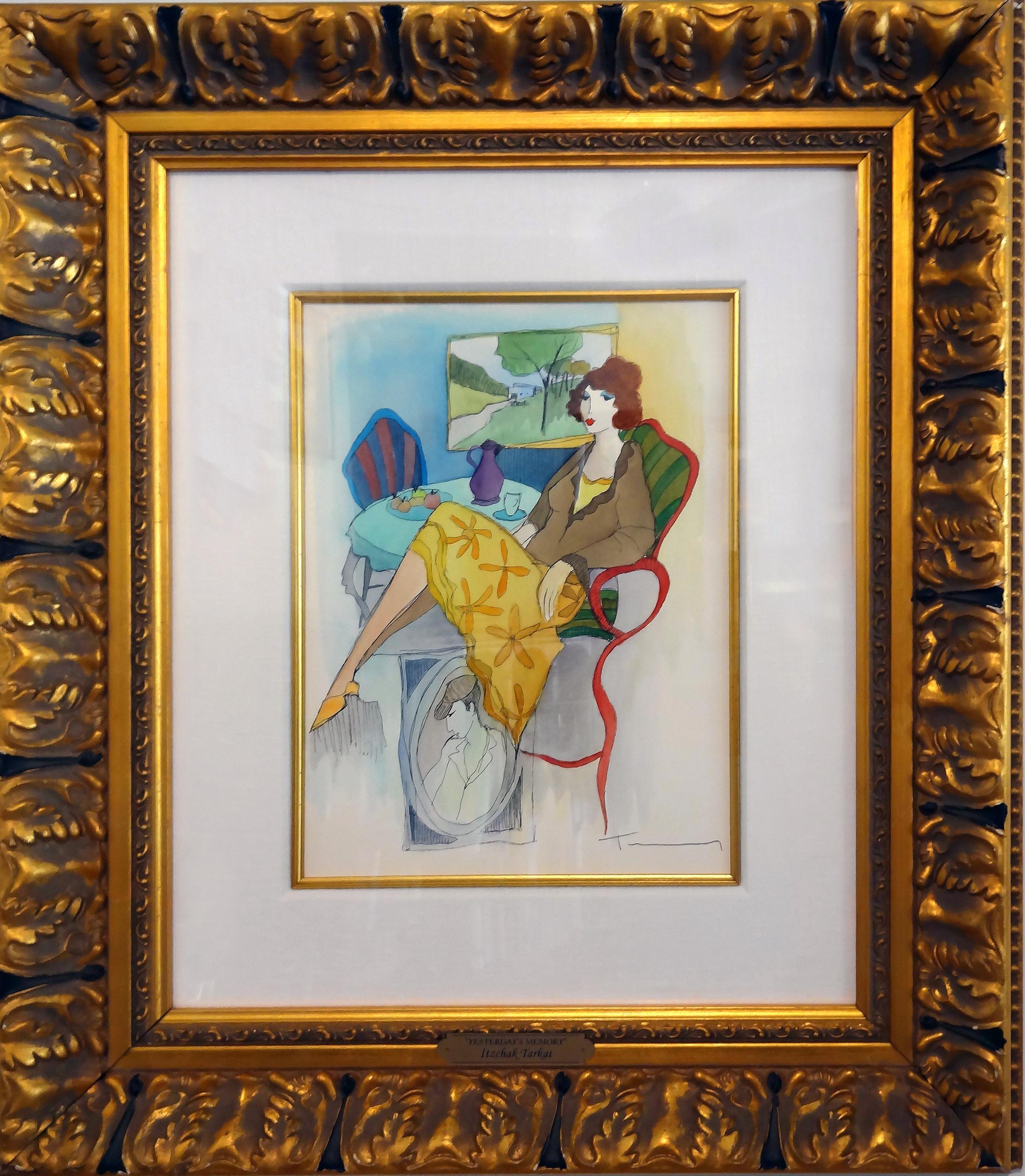 Itzchak Tarkay, Yesterday's Memory, Watercolor Painting