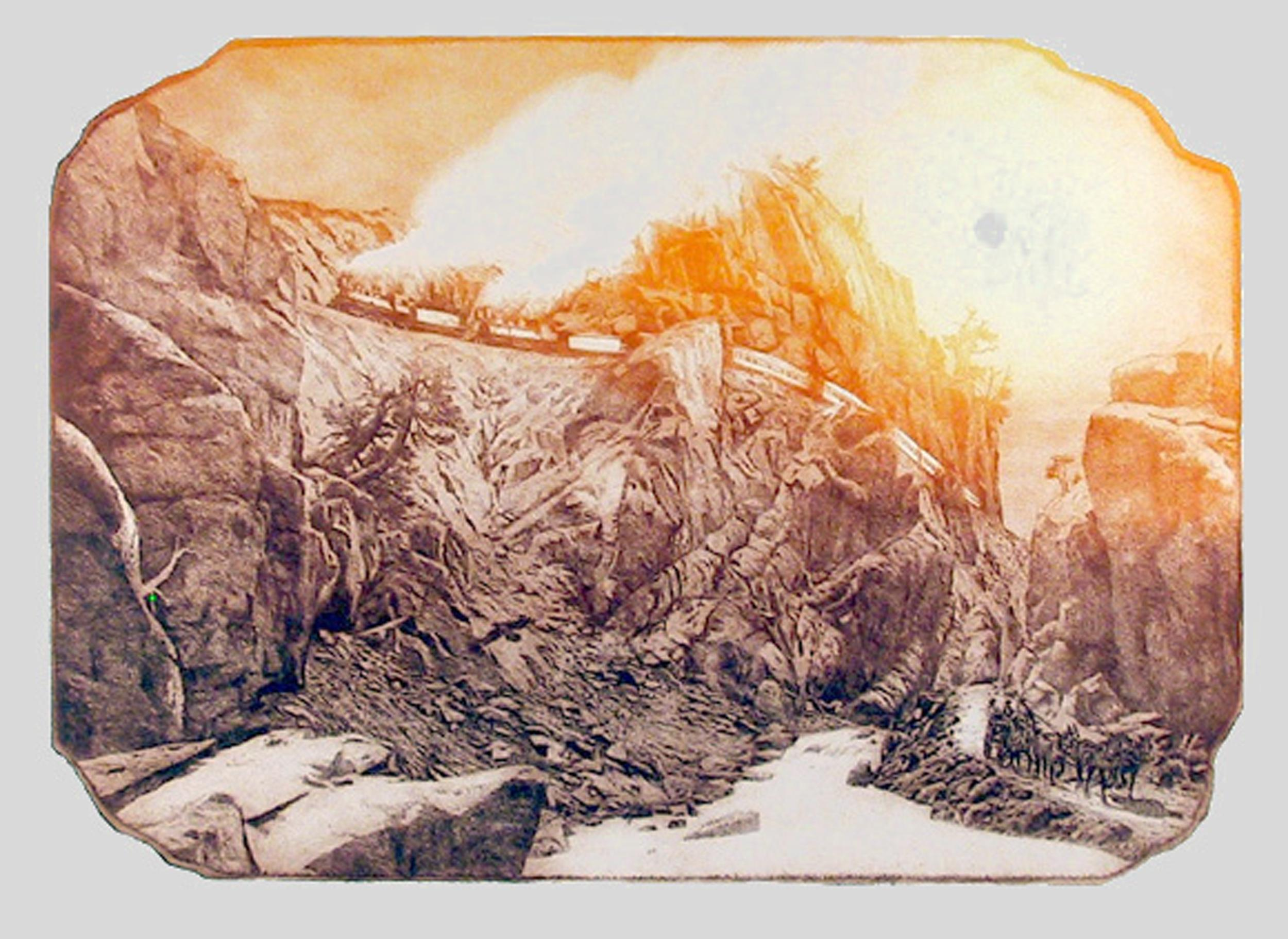 Roy Purcell, On the Denver and Rio Grande, Aquatint Etching