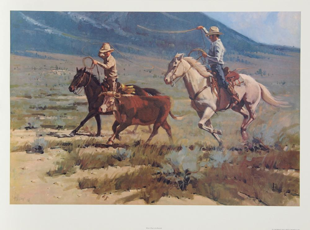 Fred Fellows, When it Pays to be Mounted, Offset Lithograph