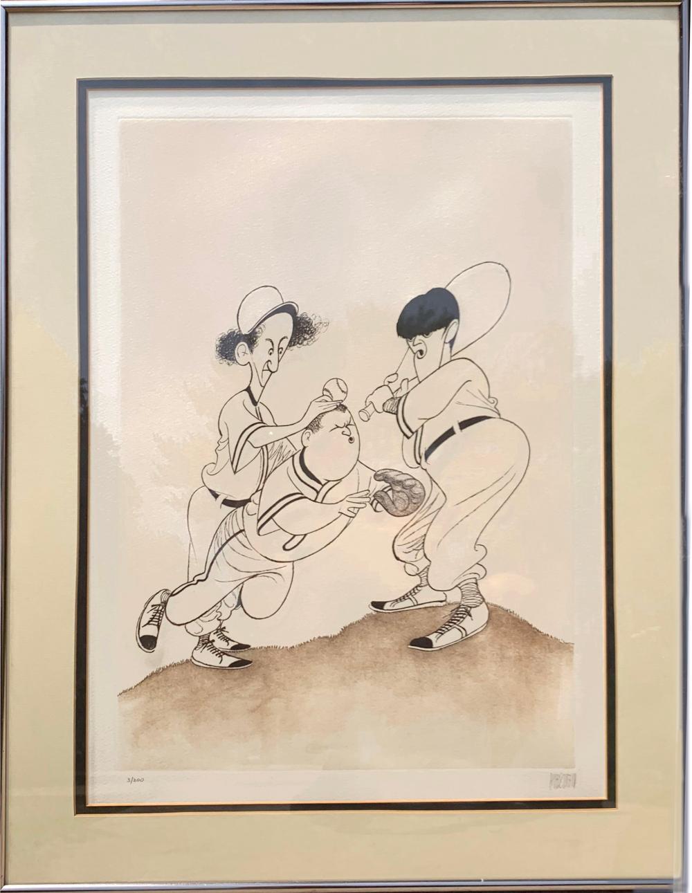 Al Hirschfeld, The Three Stooges (Baseball), Etching