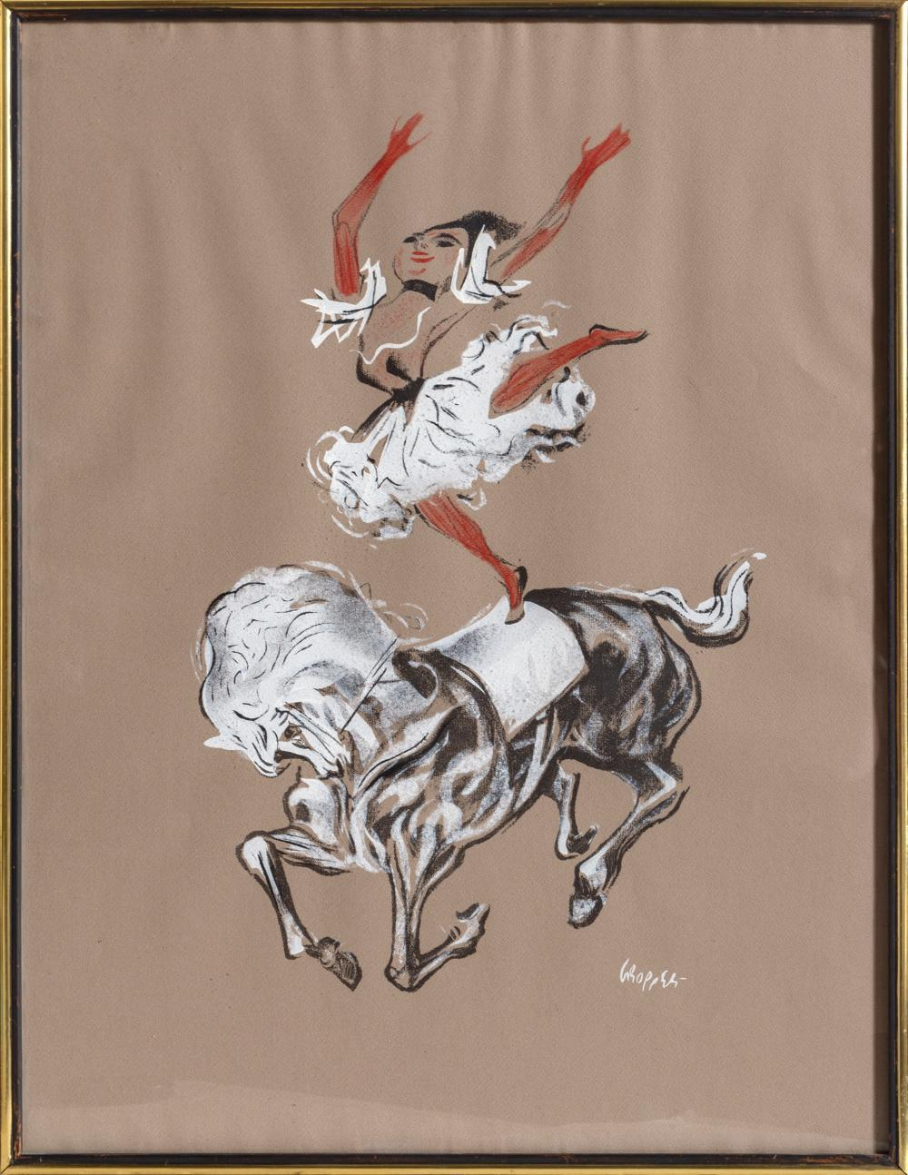 William Gropper, Dancer on Horseback, Lithograph