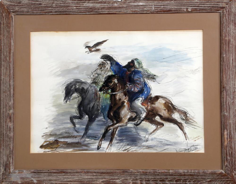 John August Groth, Tribesmen Hawking, Watercolor Painting