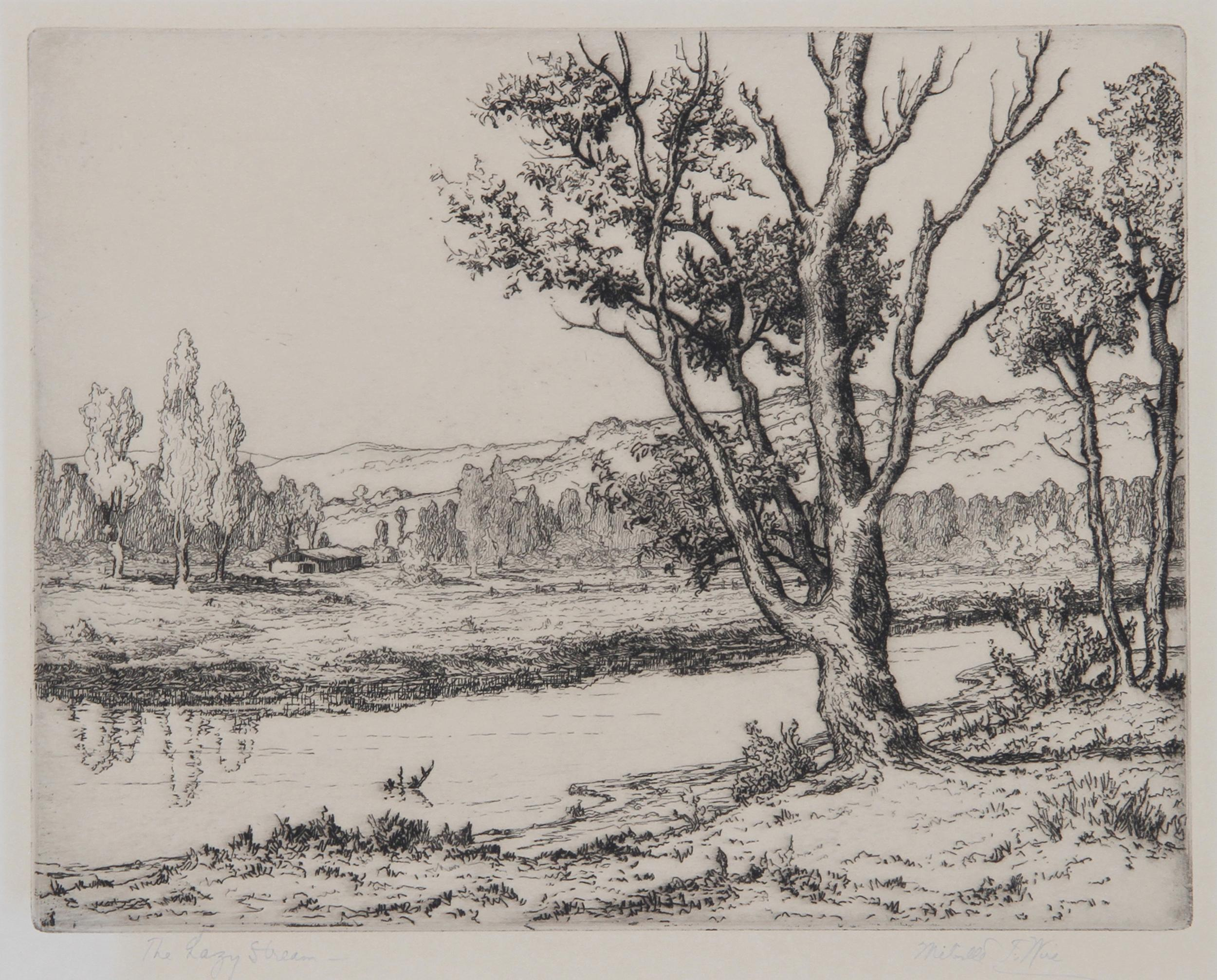 Melville Wire, The Lazy Stream, Etching