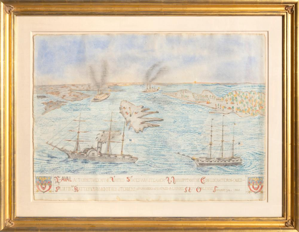 Frank Leslie, Naval Action, Colored Pencil and Graphite on Paper
