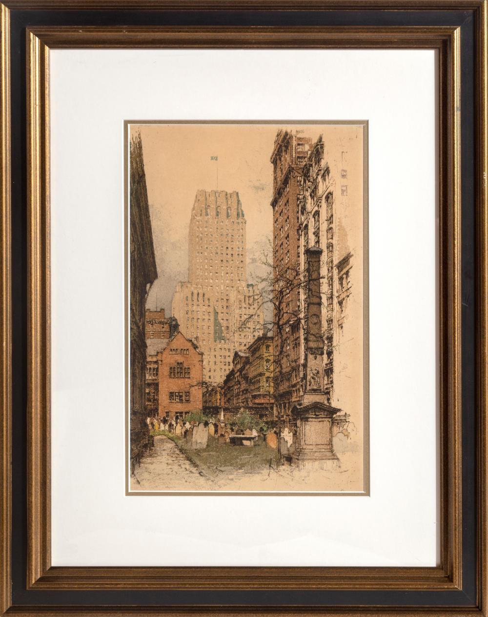 Luigi Kasimir, The Barclay-Vesey Building, Manhattan, Color Aquatint Etching