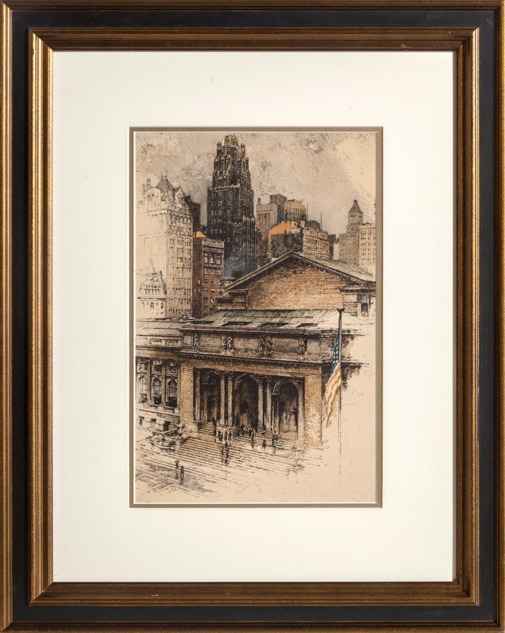 Luigi Kasimir, New York Public Library, Color Etching