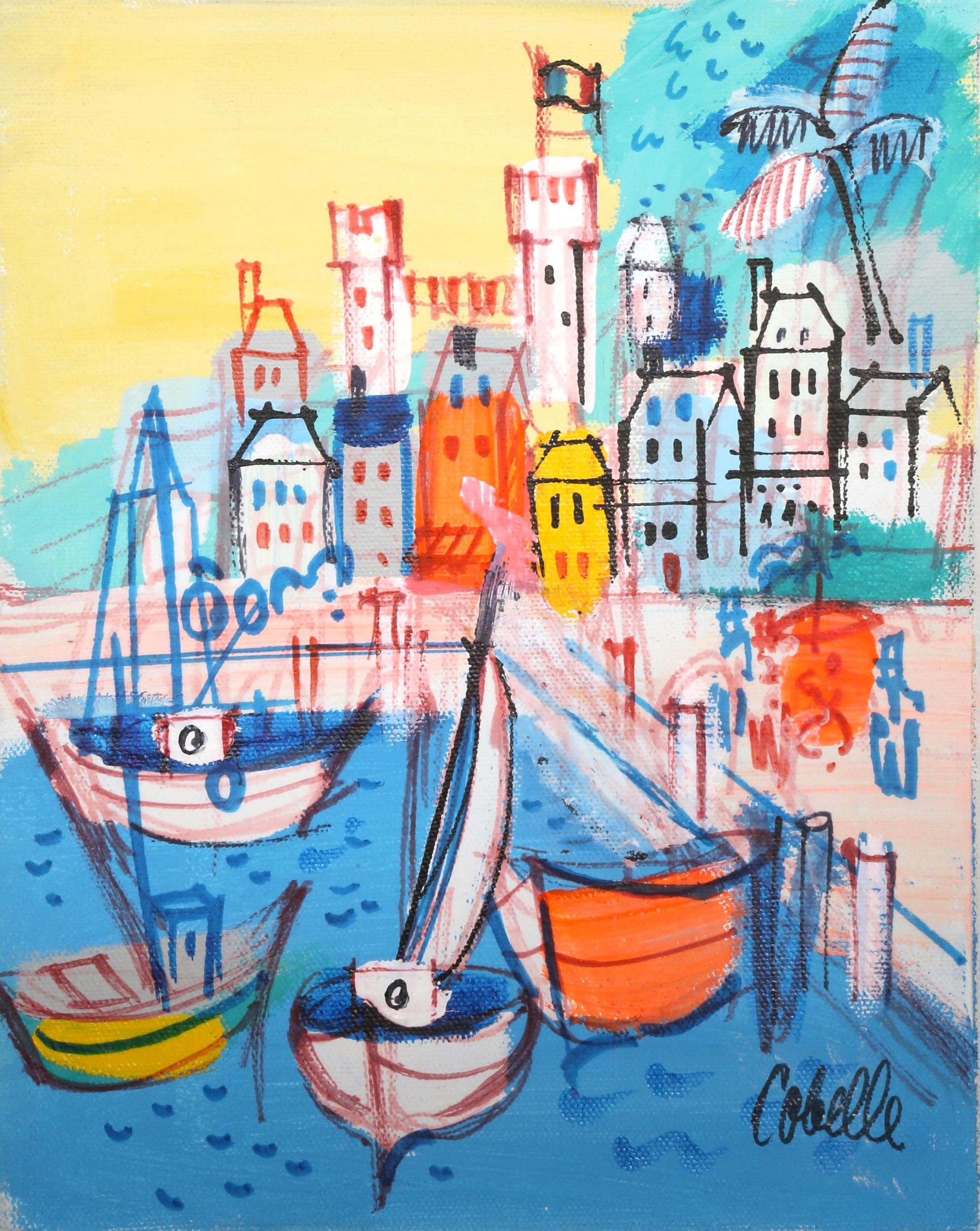 Charles Cobelle, Sailboat Docks by French Castle, Acrylic Painting