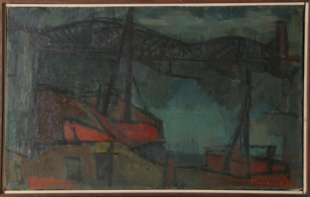 Jack Bilander, Fishing Boats and Bridge, Oil Painting