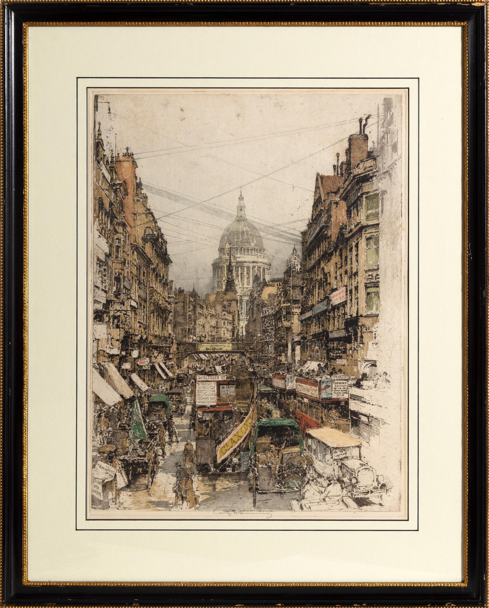 Luigi Kasimir, Fleet Street, Aquatint Etching