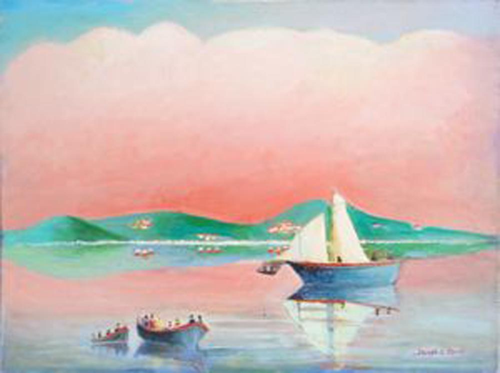 Joseph G. Perri, Capri and Boats, Oil Painting