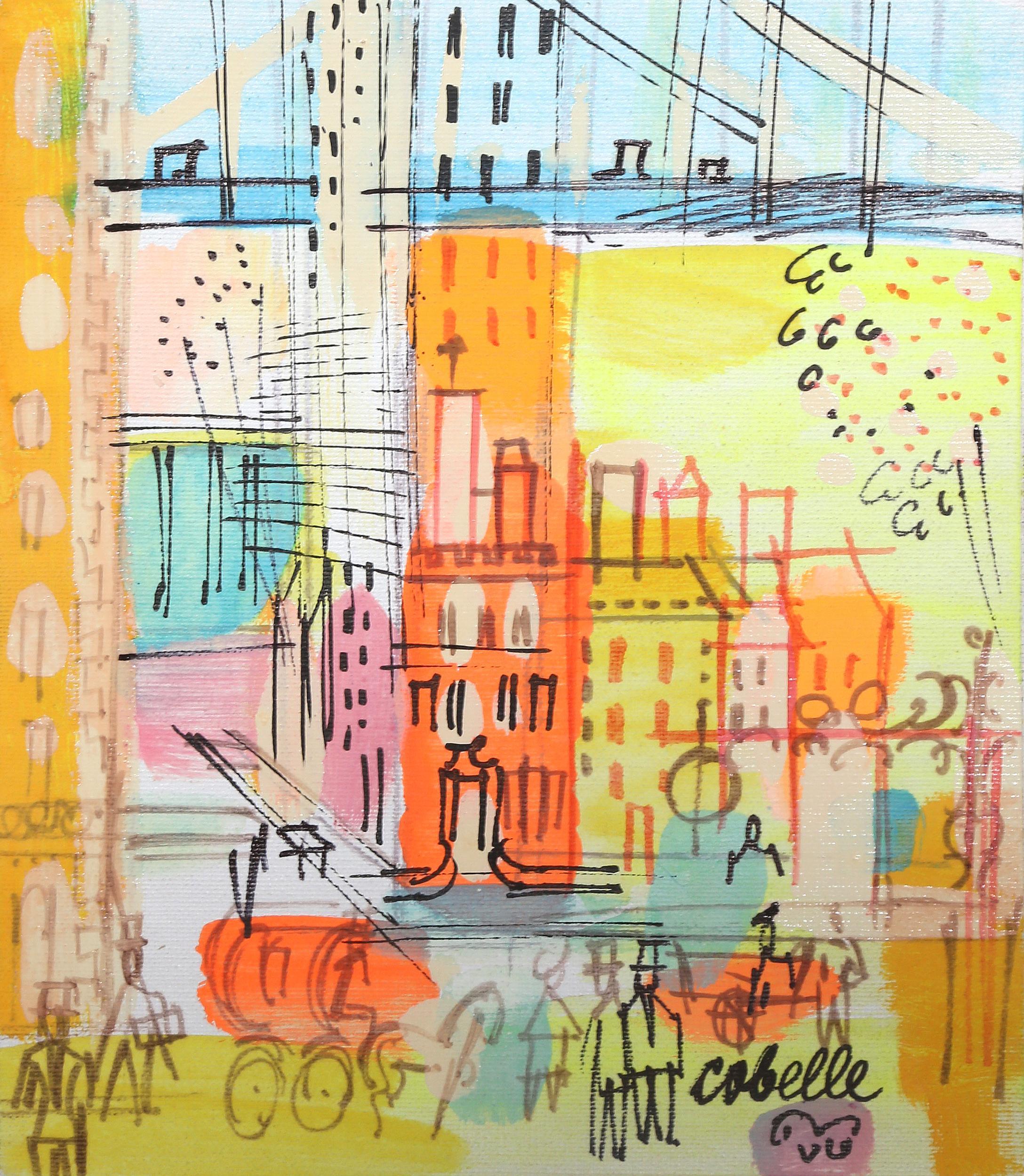 Charles Cobelle, City Street Below Bridge 2, Acrylic Painting