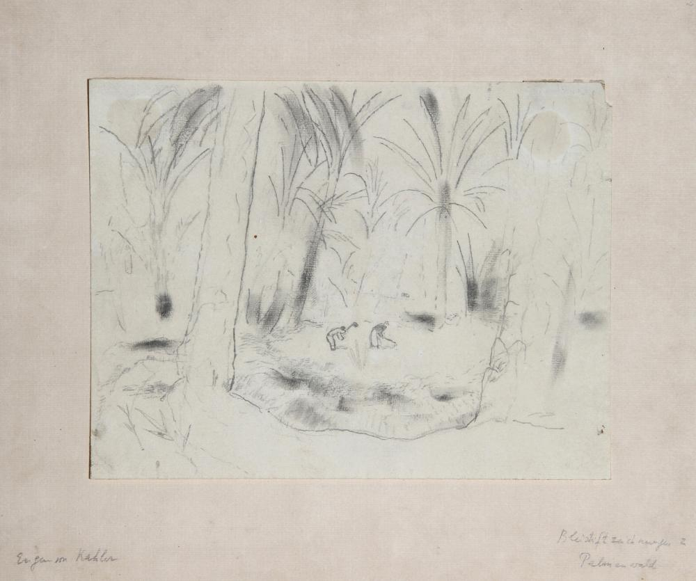 Eugen von Kahler, Woods with Palms, Pencil Drawing