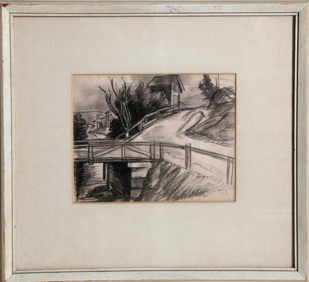Eric Goldberg, Country Bridge, Ink Drawing