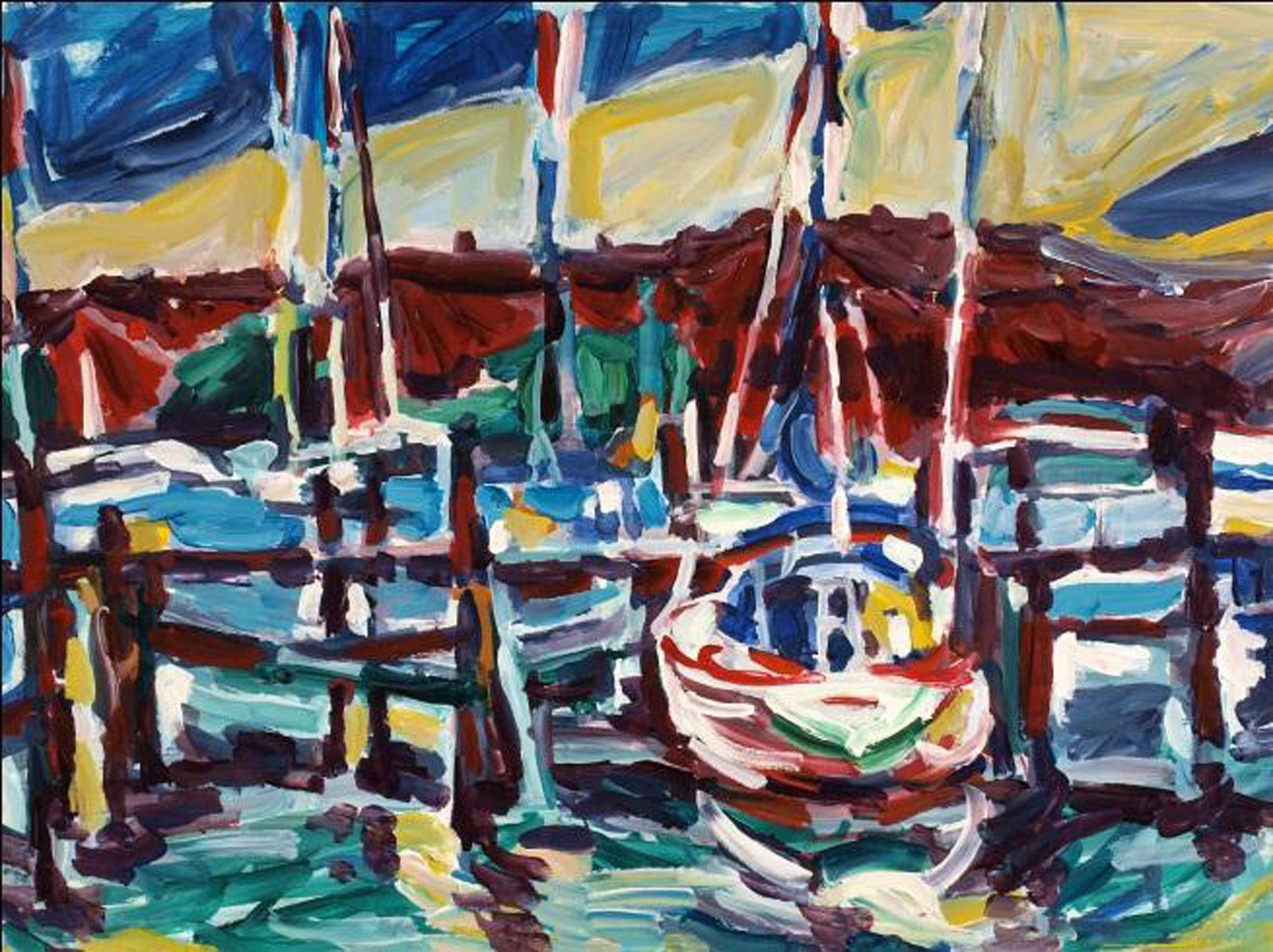 Alfred Sandford, Boats in the Harbor No. 2, Acrylic Painting
