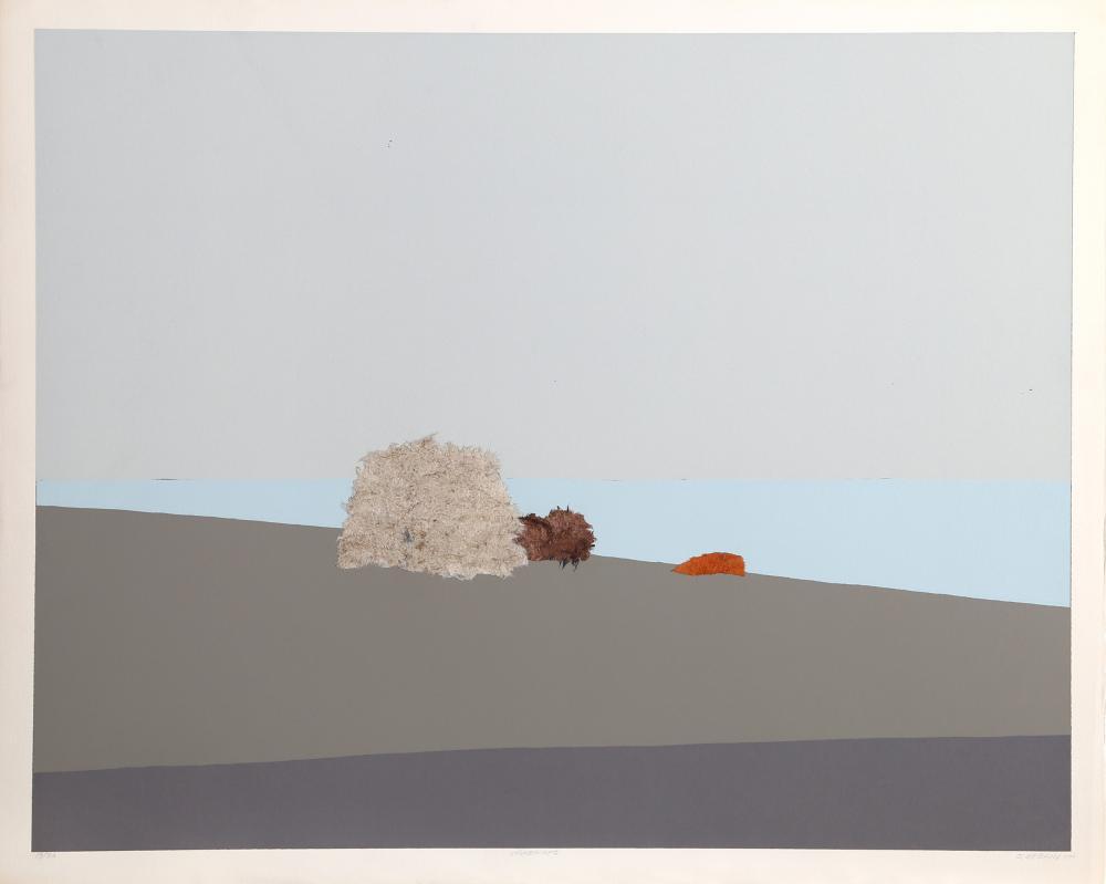 John Urbain, Seascape, Silkscreen with Collage