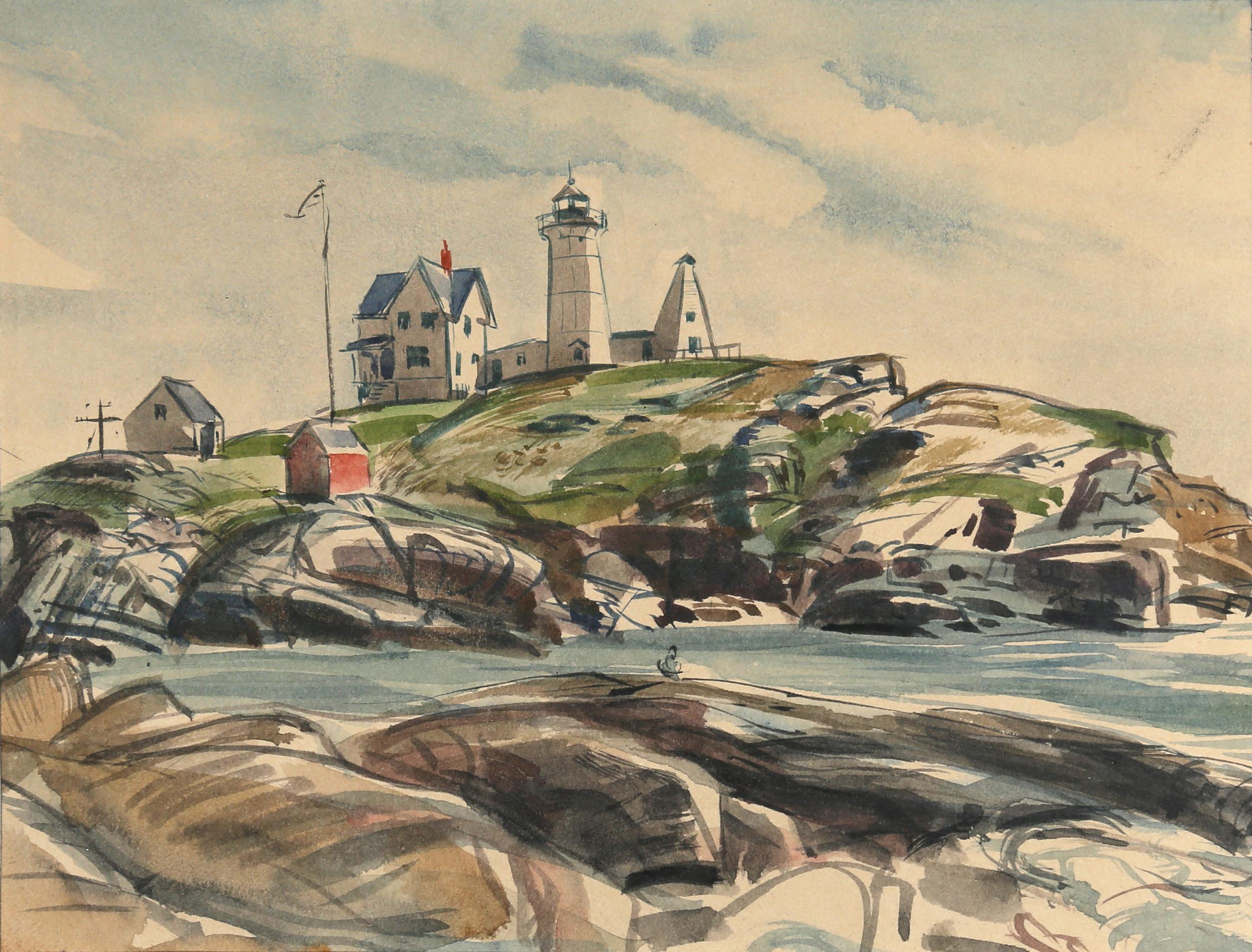 Charles Blaze Vukovich, Lighthouse, Watercolor Painting