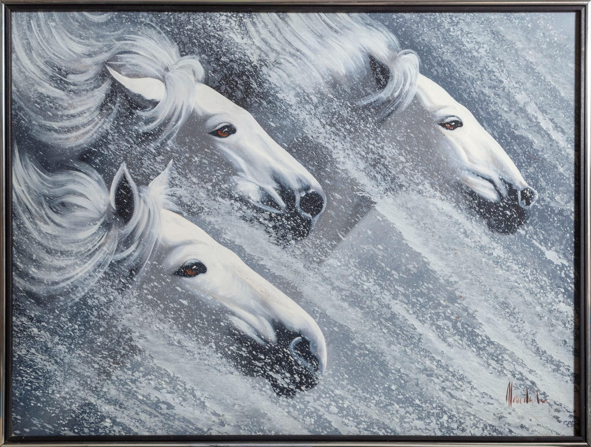 Unknown Artist: Horses in the Wind, Oil Painting