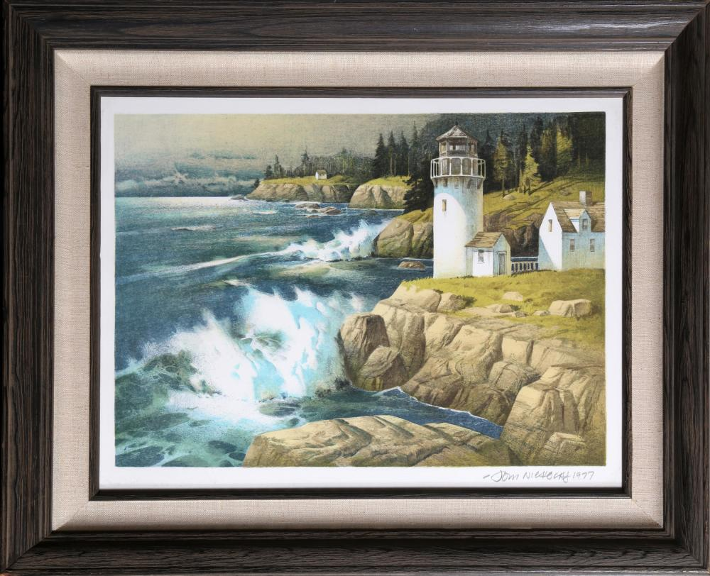Tom Nicholas, Seascape with Lighthouse, Lithograph