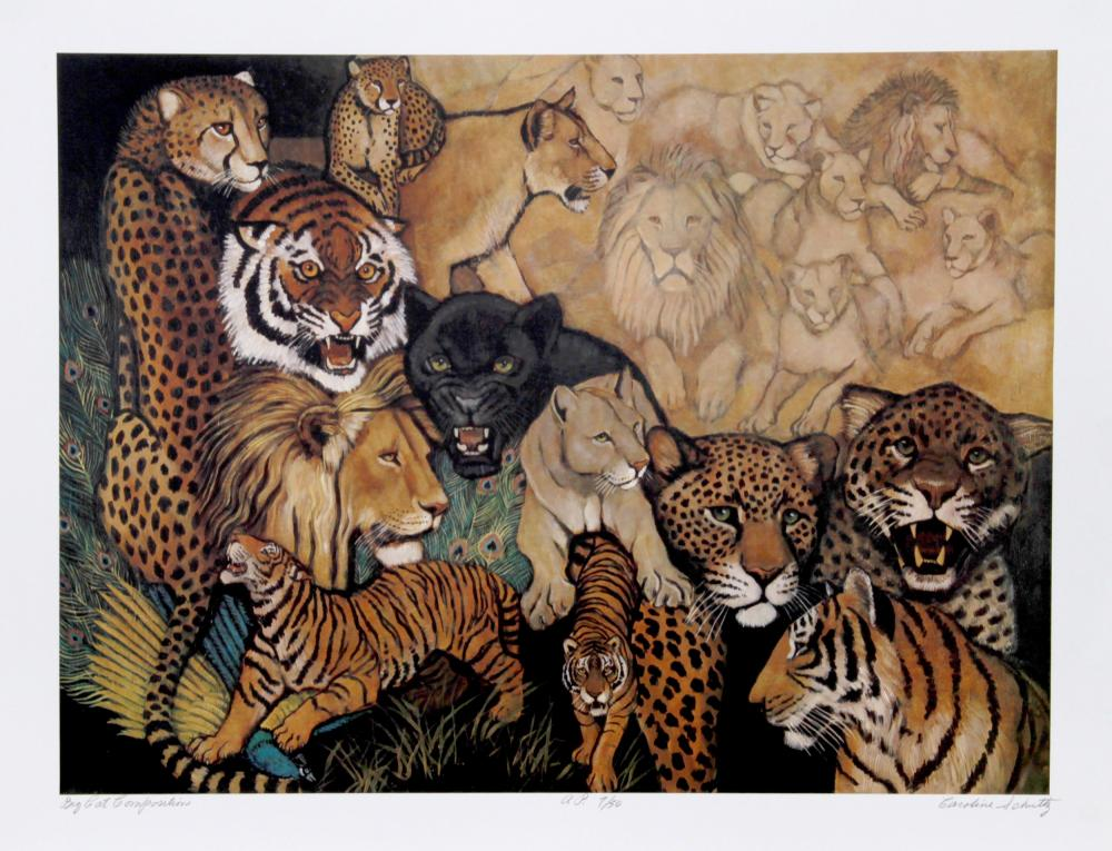 Caroline Schultz, Big Cat Compositions, Lithograph
