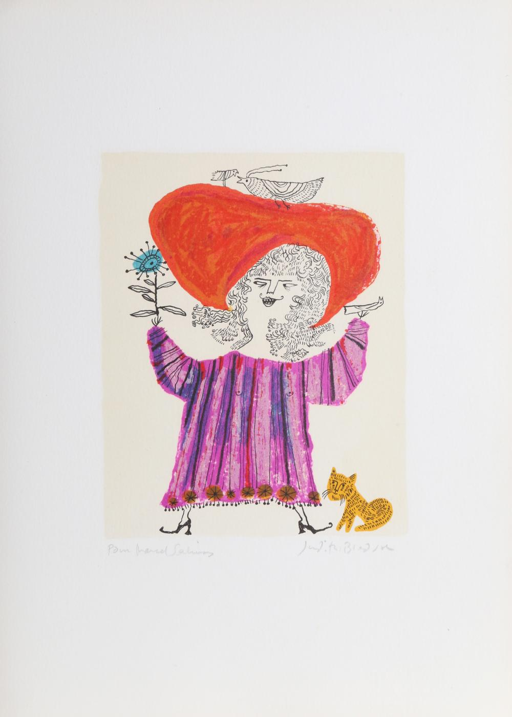 Judith Bledsoe, Petite Portrait - Big Red Hat, Lithograph and dedicated to Laurent Marcel Salinas