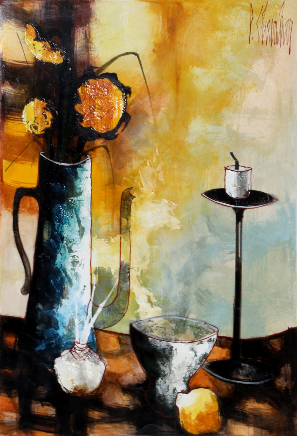 Paul Maurice Chevalier, Vase and Lamp, Oil Painting