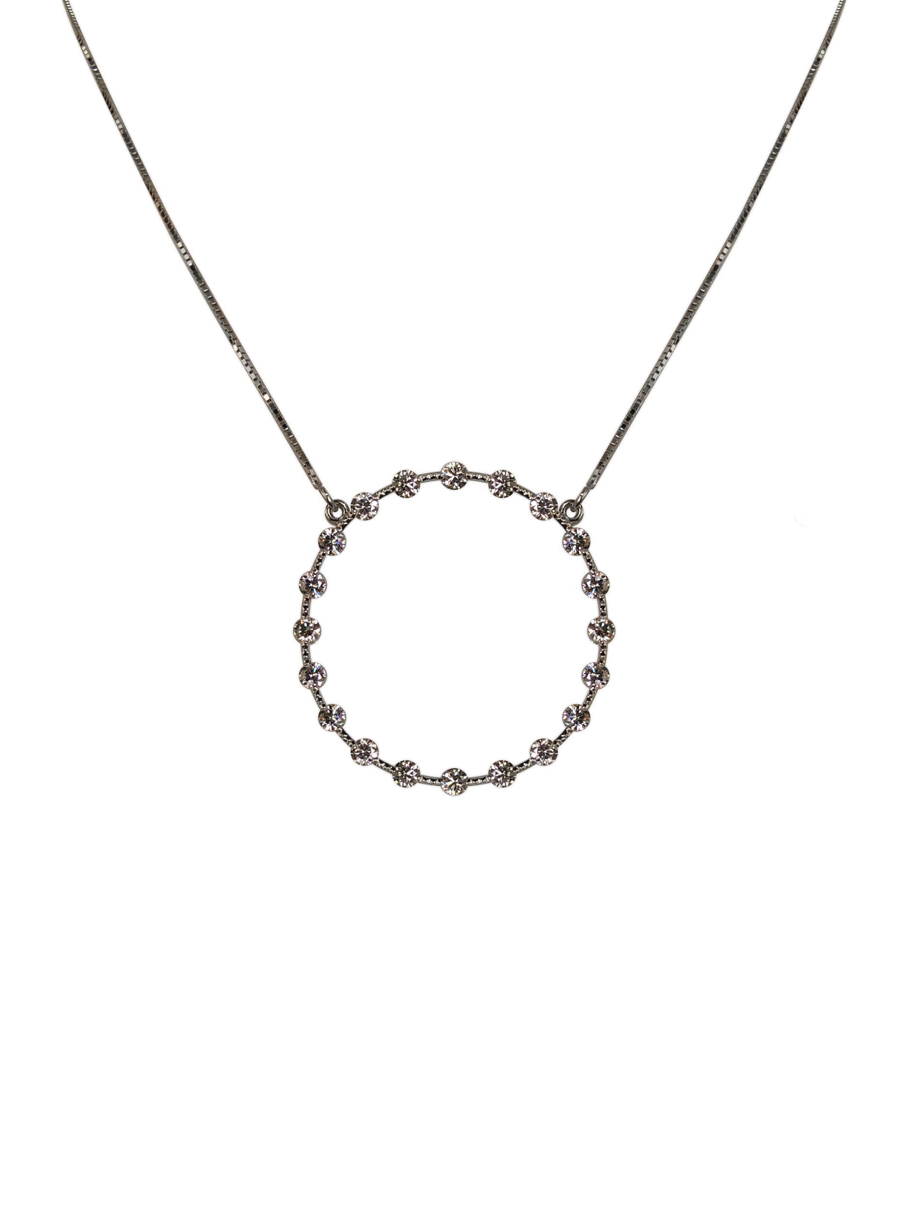 Drew Pietrafesa, Round Diamond Necklace, 2.4 Carat VS Diamonds, 18k White Gold Pendant