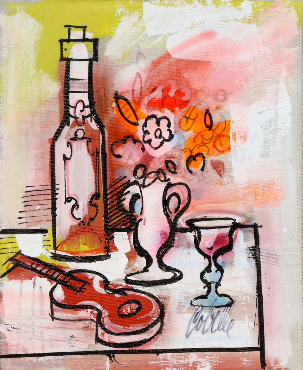 Charles Cobelle, Still Life with Wine and Violin 6, Acrylic Painting
