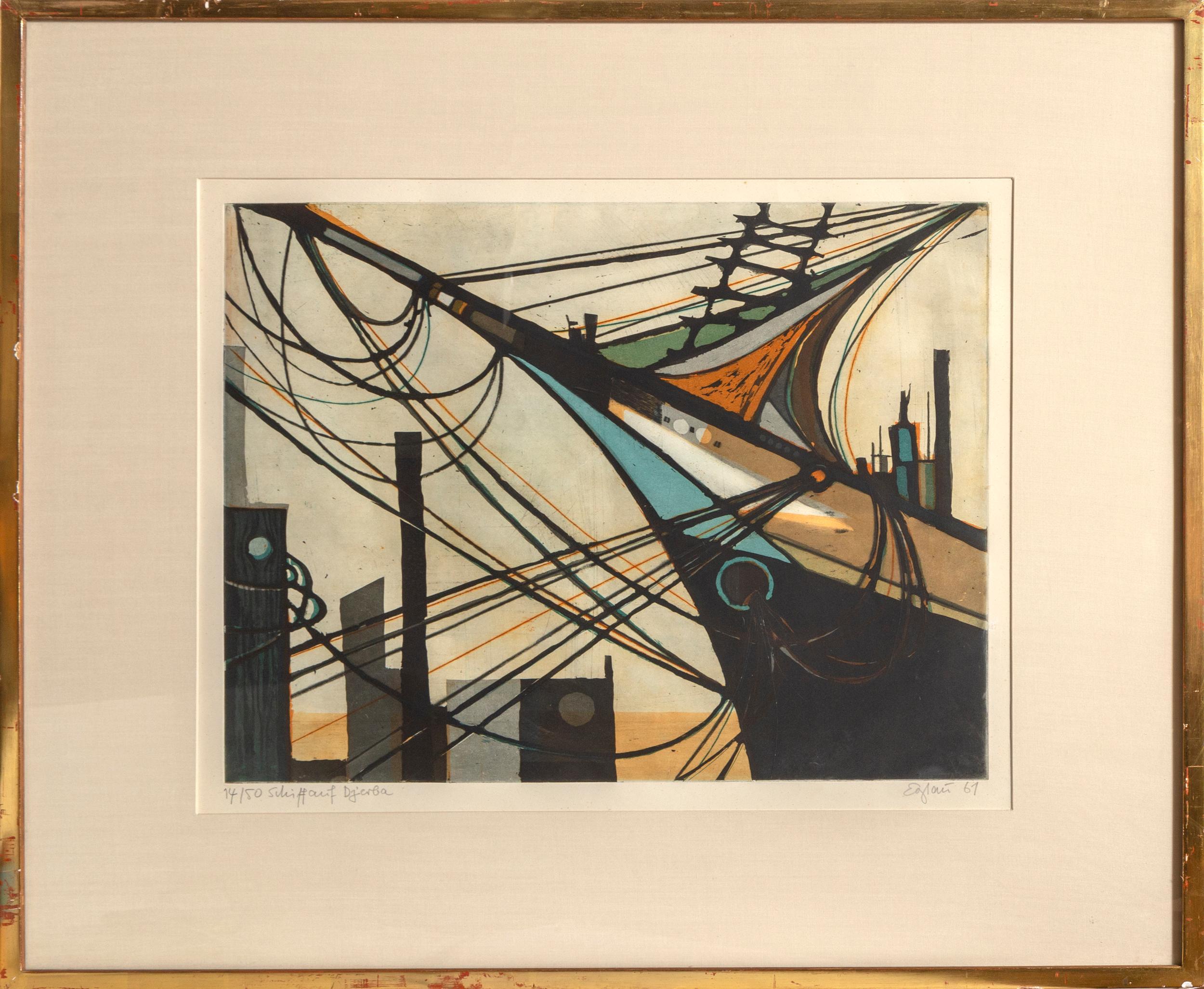 Otto Wilhelm Eglau, Schiff auf Djerba (Ship on Djerba), Color etching, aquatint, and drypoint