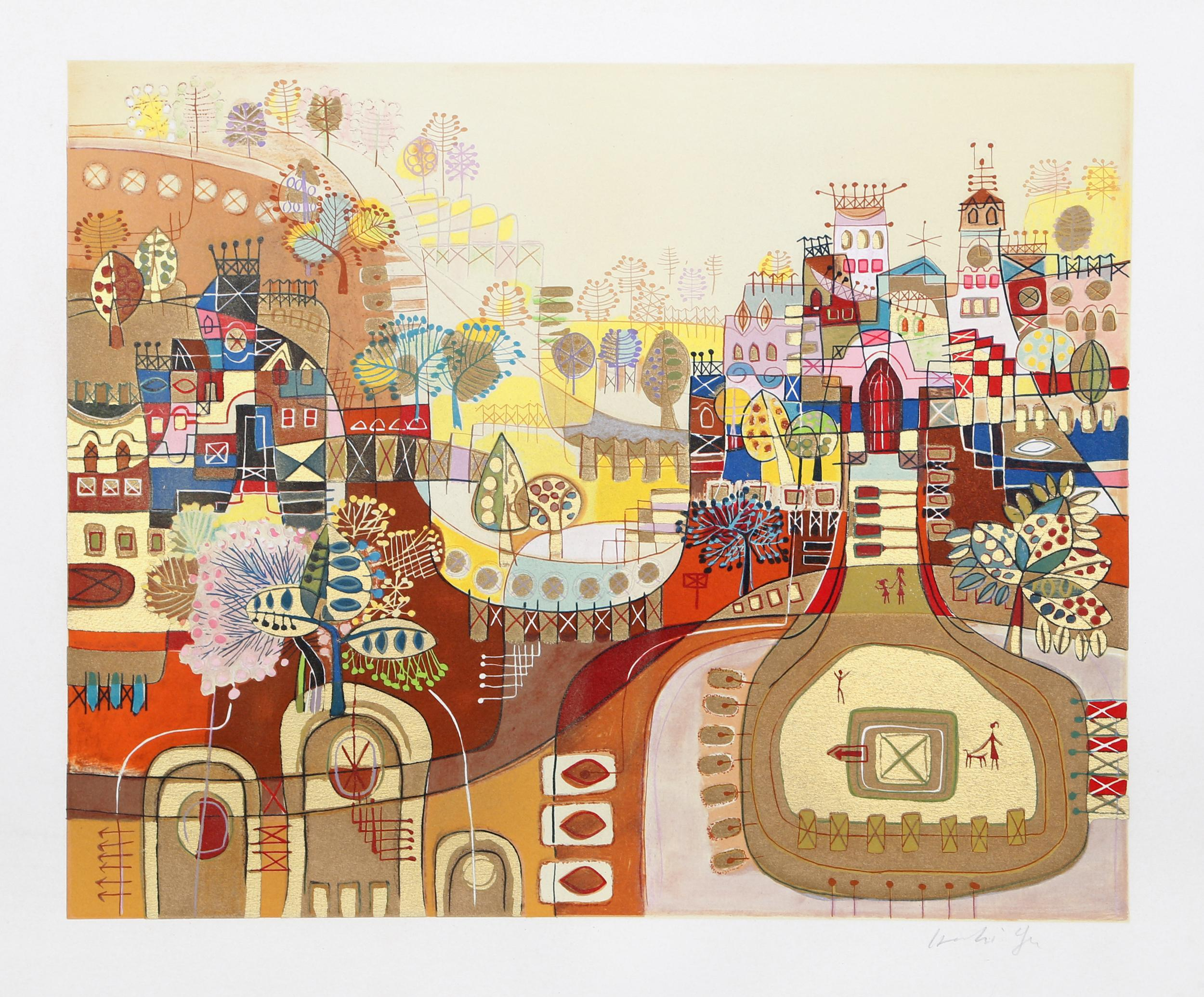 Heshi Yu, Castle in the Hills, Serigraph