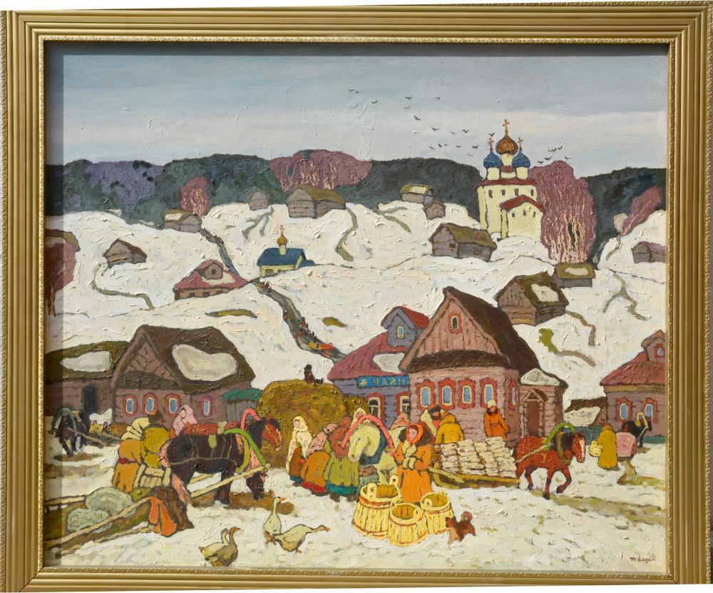 Moisey Kogan, Winter in the Russian Village, Oil Painting