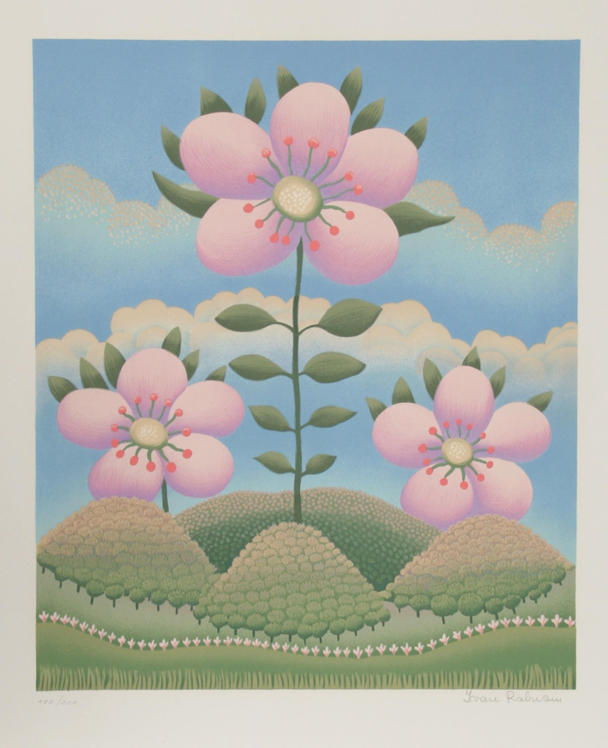 Ivan Rabuzin, Pink Flowers on Hills (6), Serigraph