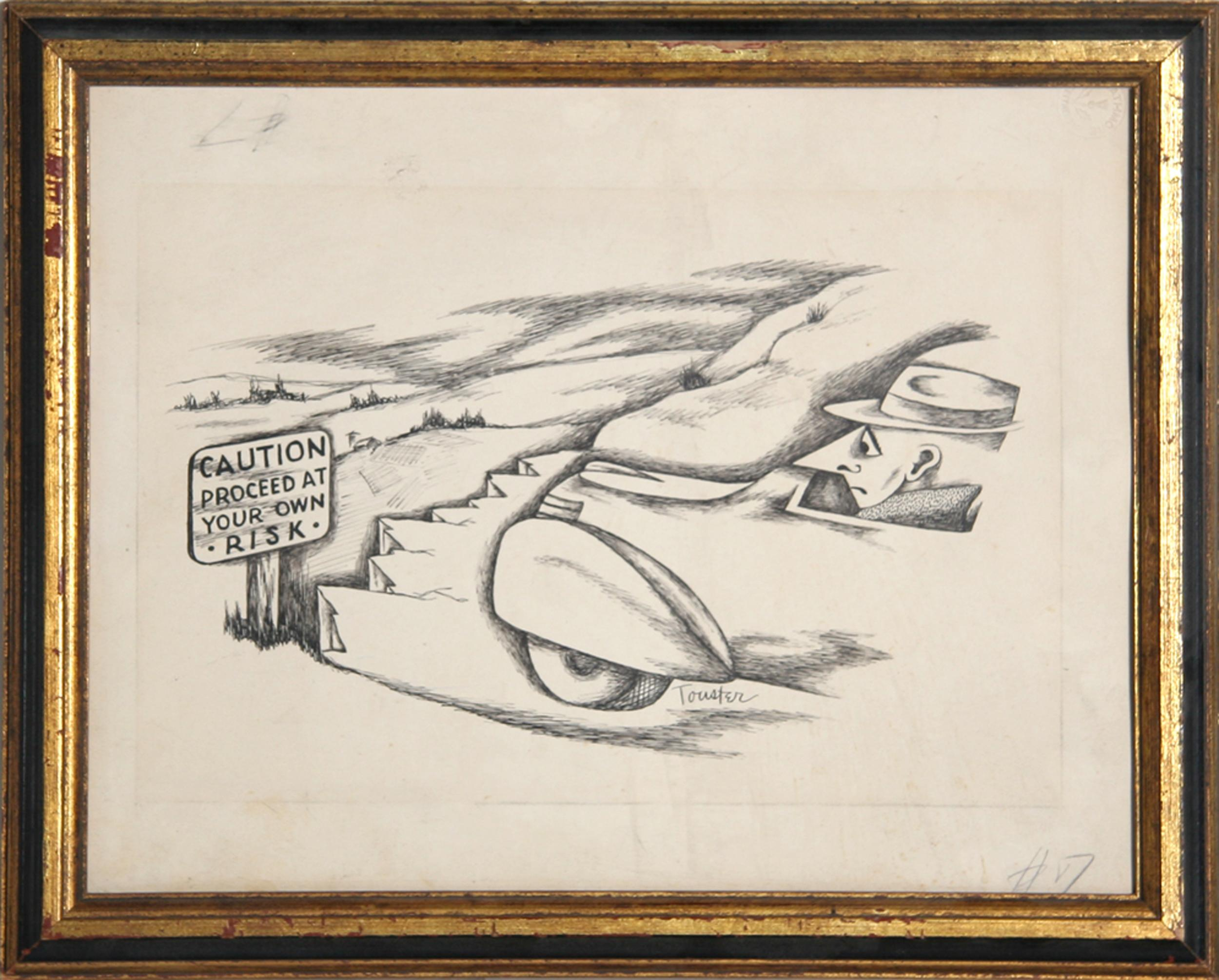 Irwin Touster, Proceed at Own Risk, Lithograph