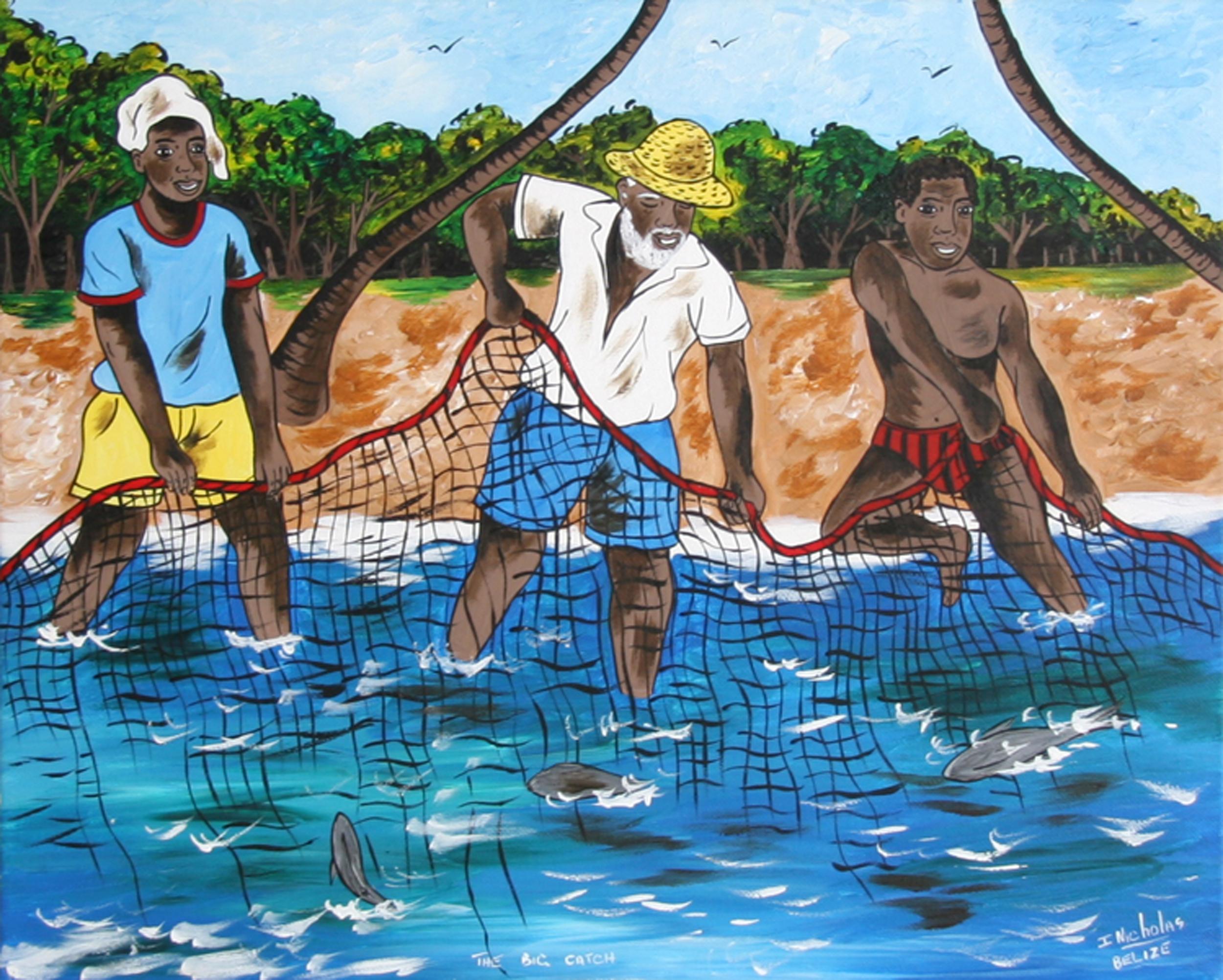 Isiah Nicholas, The Big Catch, Acrylic Painting